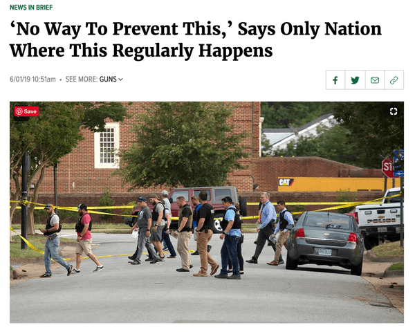 Picture of article headline that says, 'No Way to Prevent This,' Says Only Nation Where This Regularly Happens', and image of cops outside of an active shooter situation.