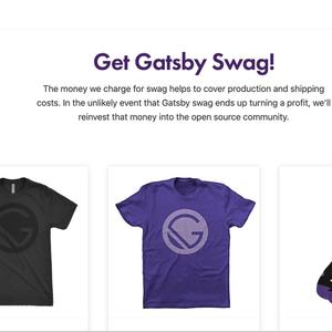 Picture of Gatsby Swag store homepage with the headline