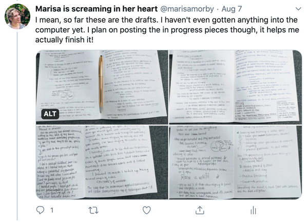 "Screenshot of a twitter post that says, ""I mean, so far these are the drafts. I haven't even gotten anything into the computer yet. I plan on posting the in progress pieces though, it helps me actually finish it!"" The attached image is a picture of my journal with several pages full of notes and diagrams."