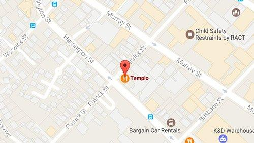 Street map showing the location of Templo in Hobart.
