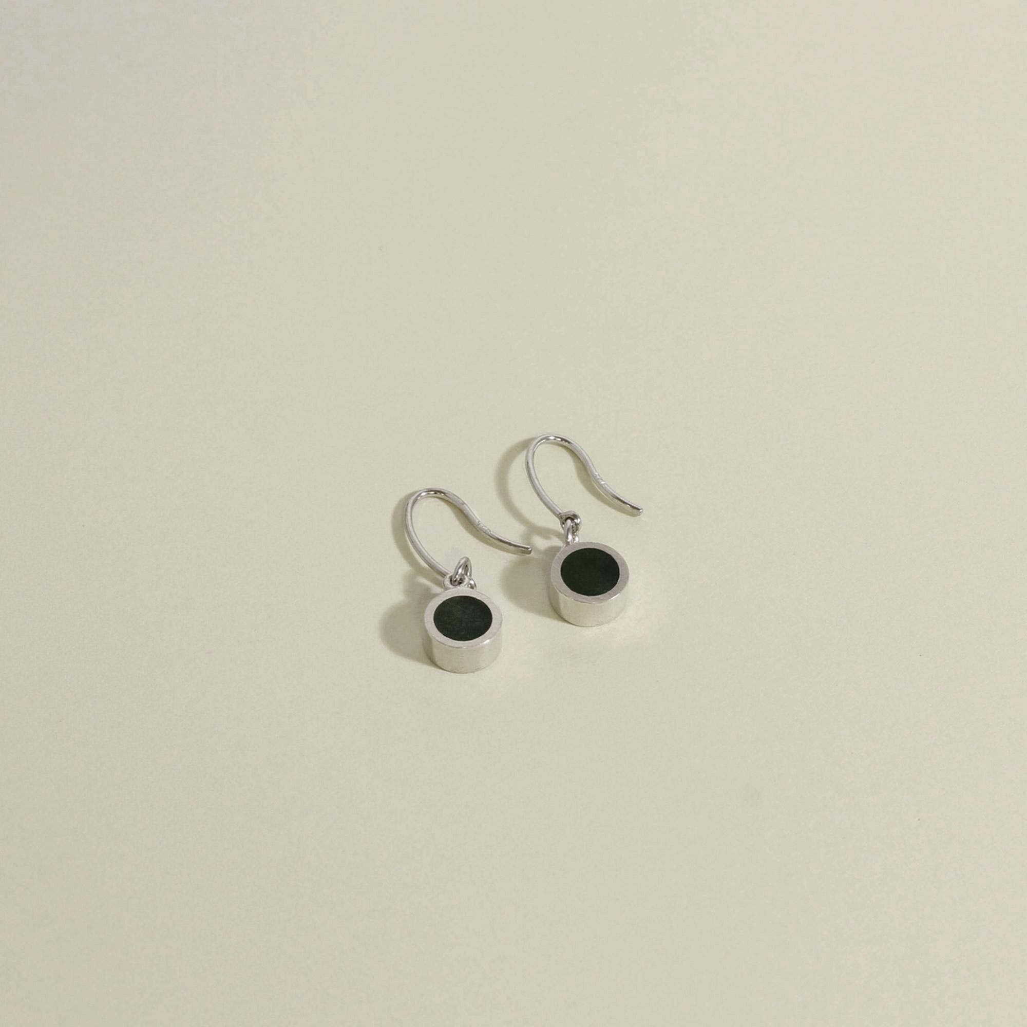 Tiny New Zealand Jade and Sterling Silver Drop Earrings