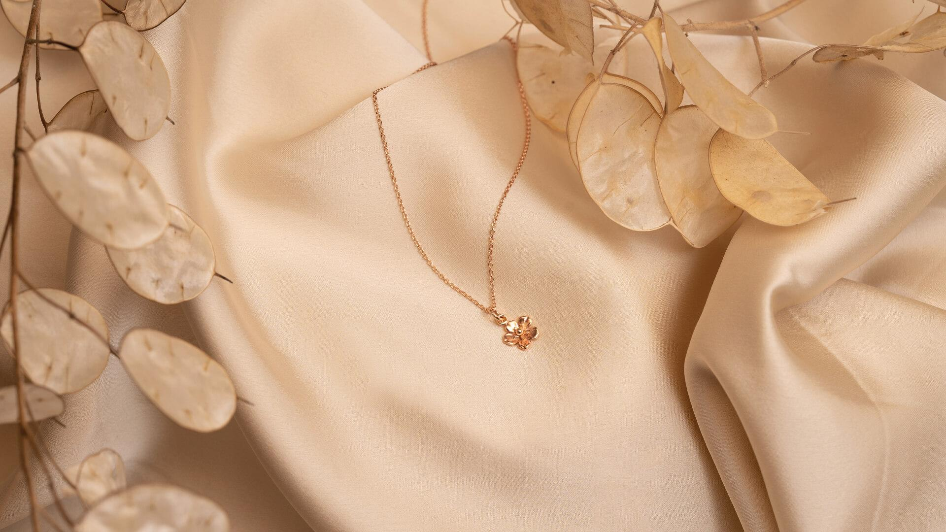 Forget-Me-Not 9ct Rose Gold Necklace made by Winter in July