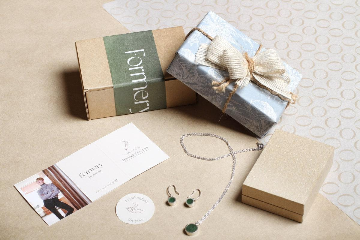Our NZ Jewellery comes in oatmeal and branded sustainable packaging