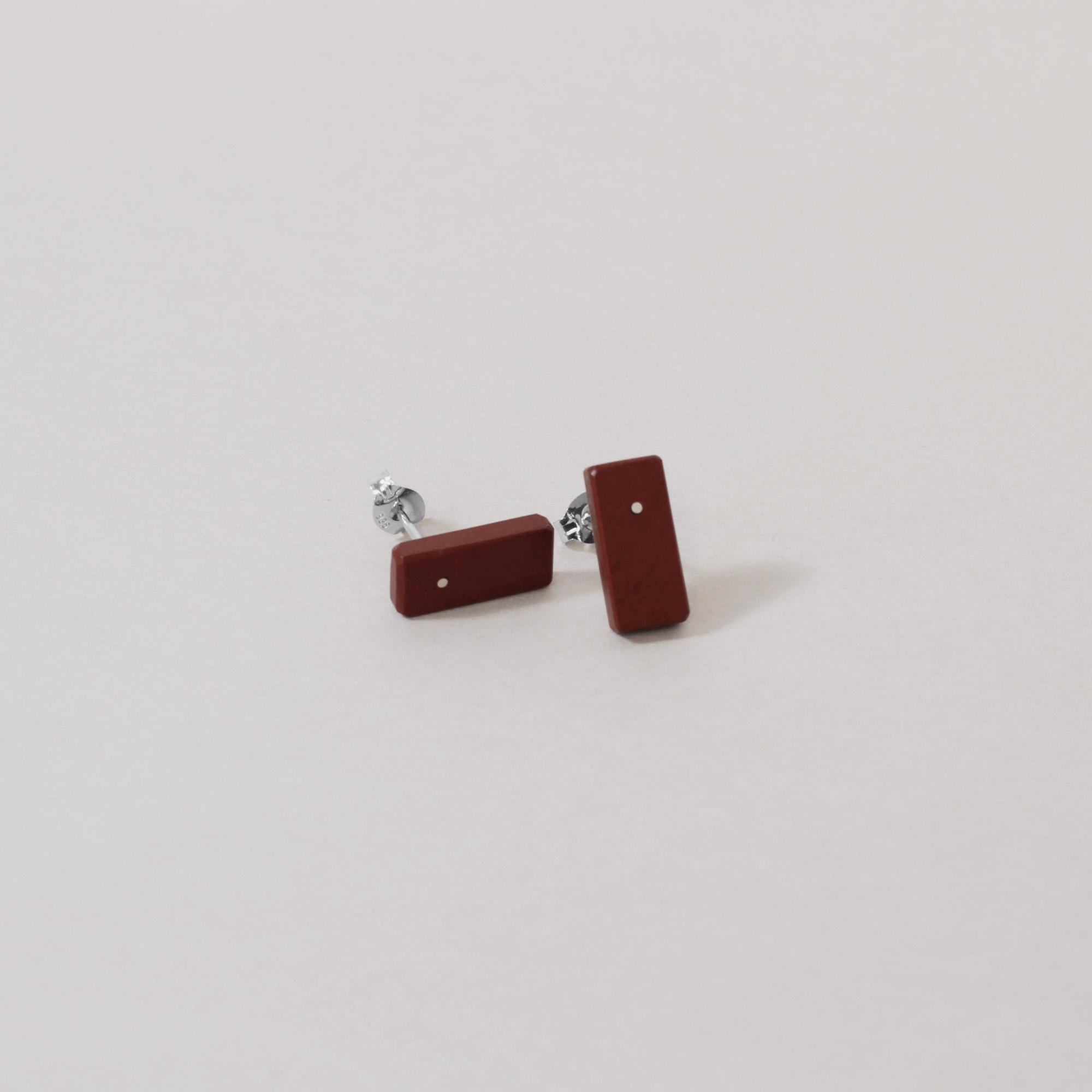 Pakohe and Sterling Silver Elongated Studs made by Hannah Sheehan