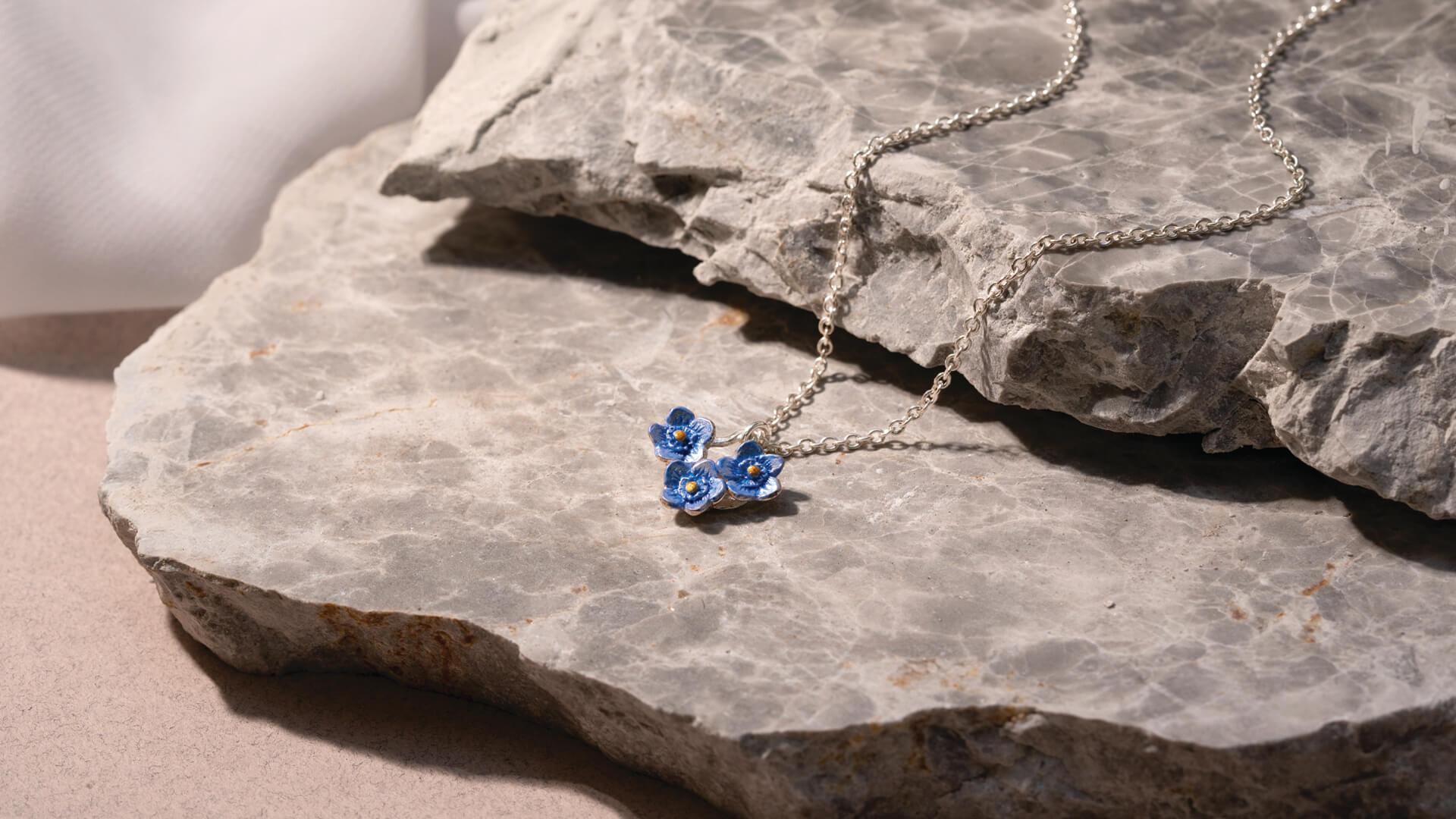 Forget-Me-Not Trio Flower Necklace made by Lily Griffin