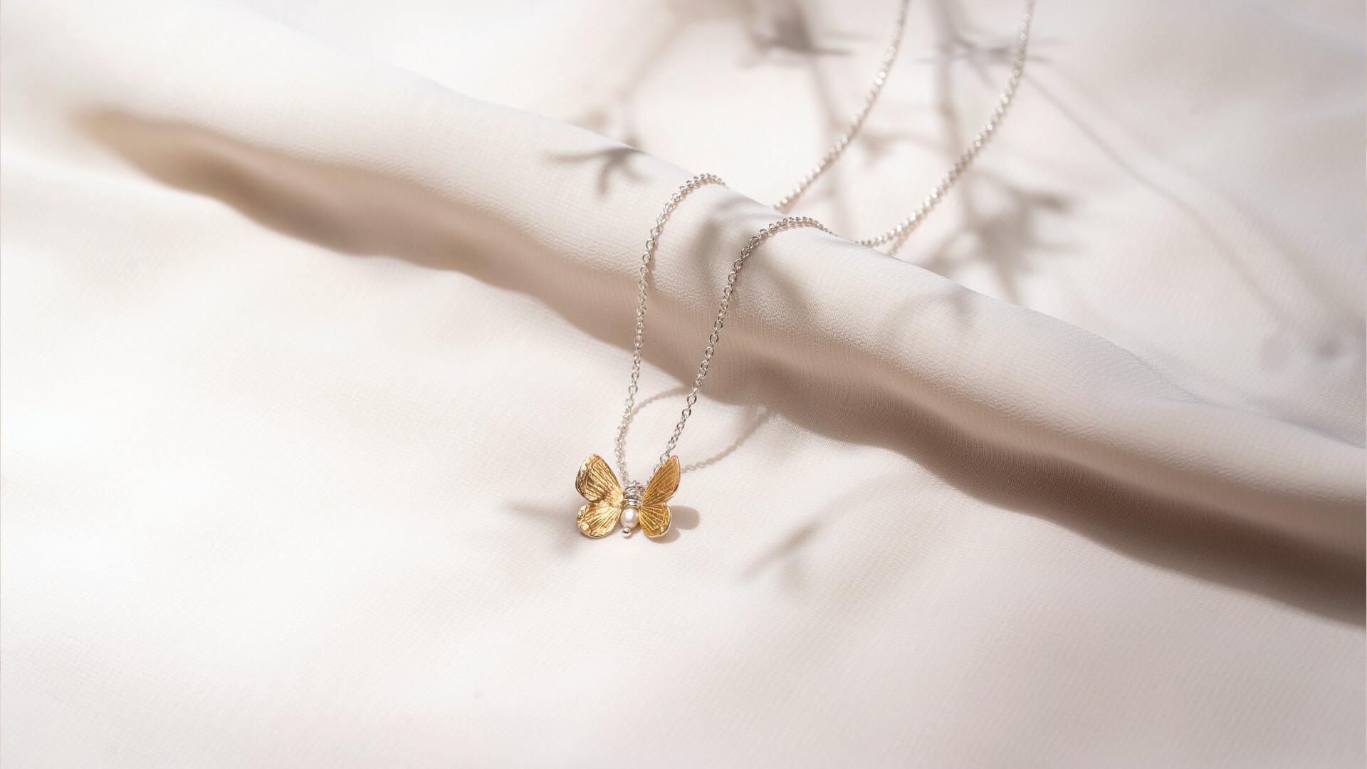 Sterling Silver and 14ct Gold Butterfly Necklace made by Lily Griffin