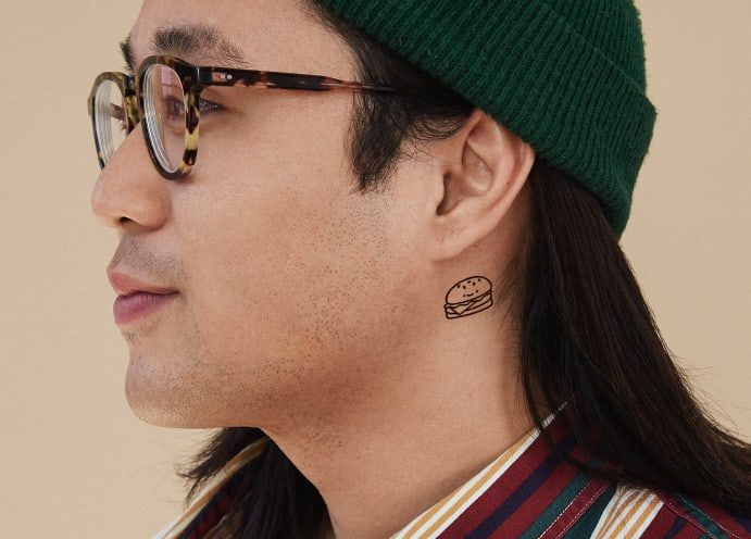ephemeral's temporary tattoo with simple line design neck