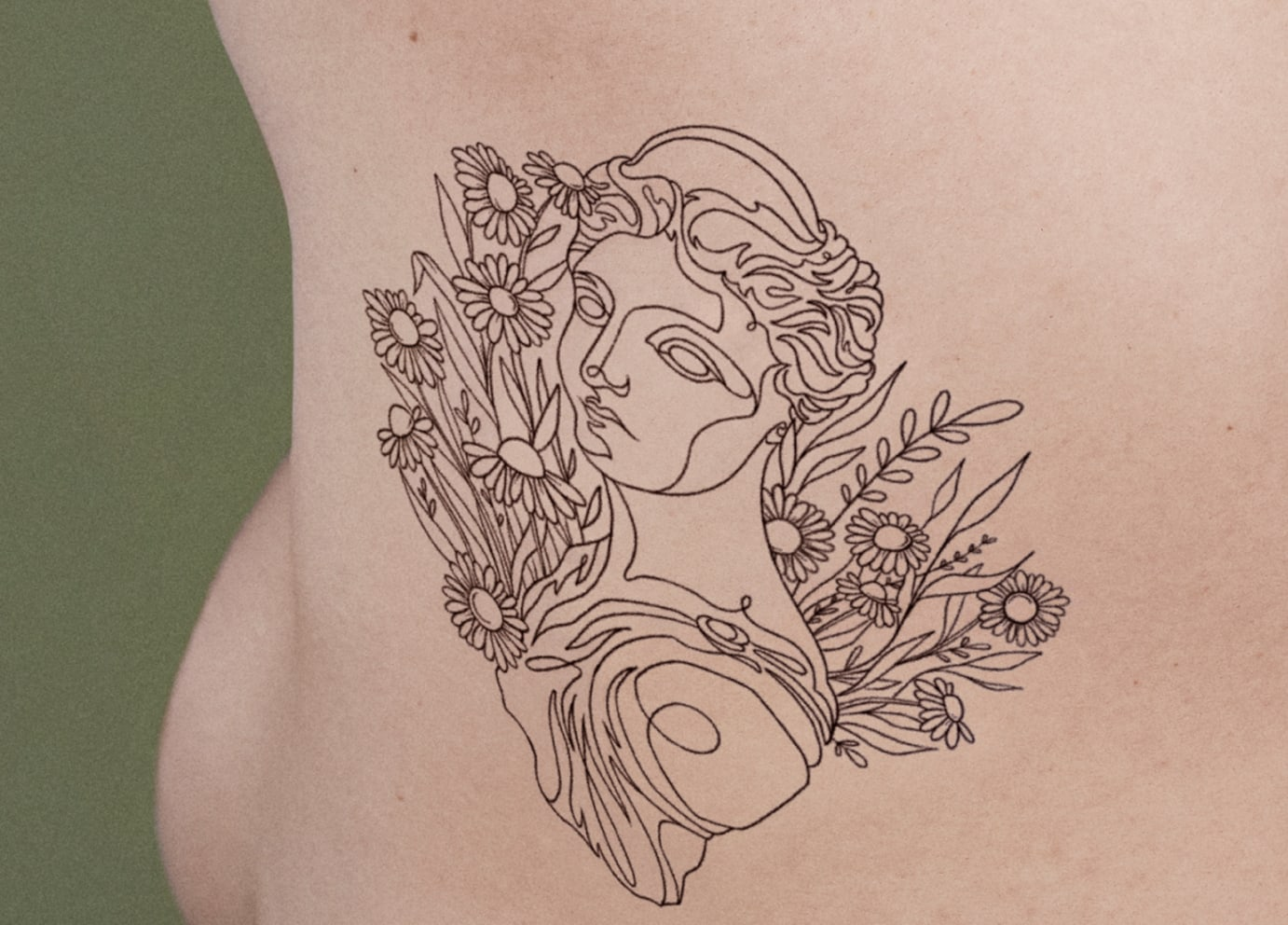 ephemeral temporary tattoo idea of abstract drawing of a woman on back