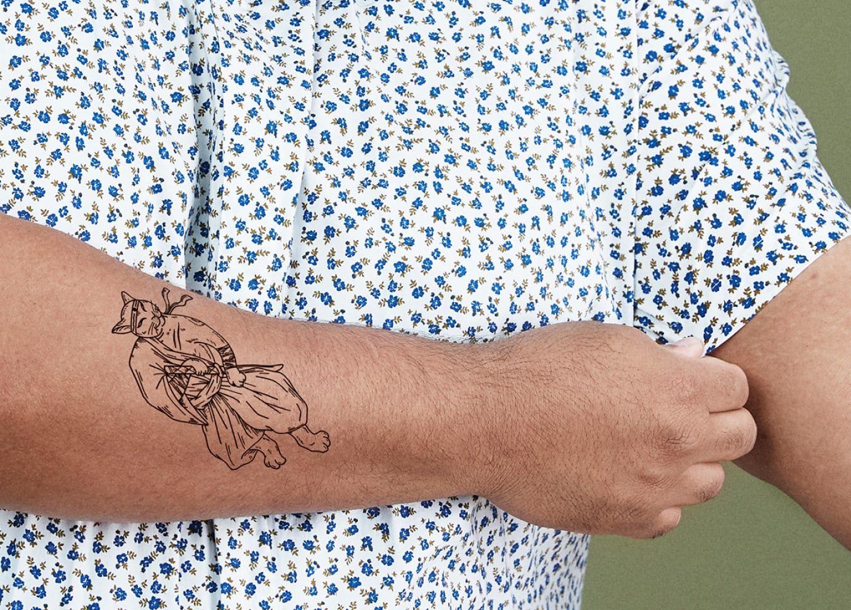 large ephemeral statement temporary tattoo idea of a cat samurai