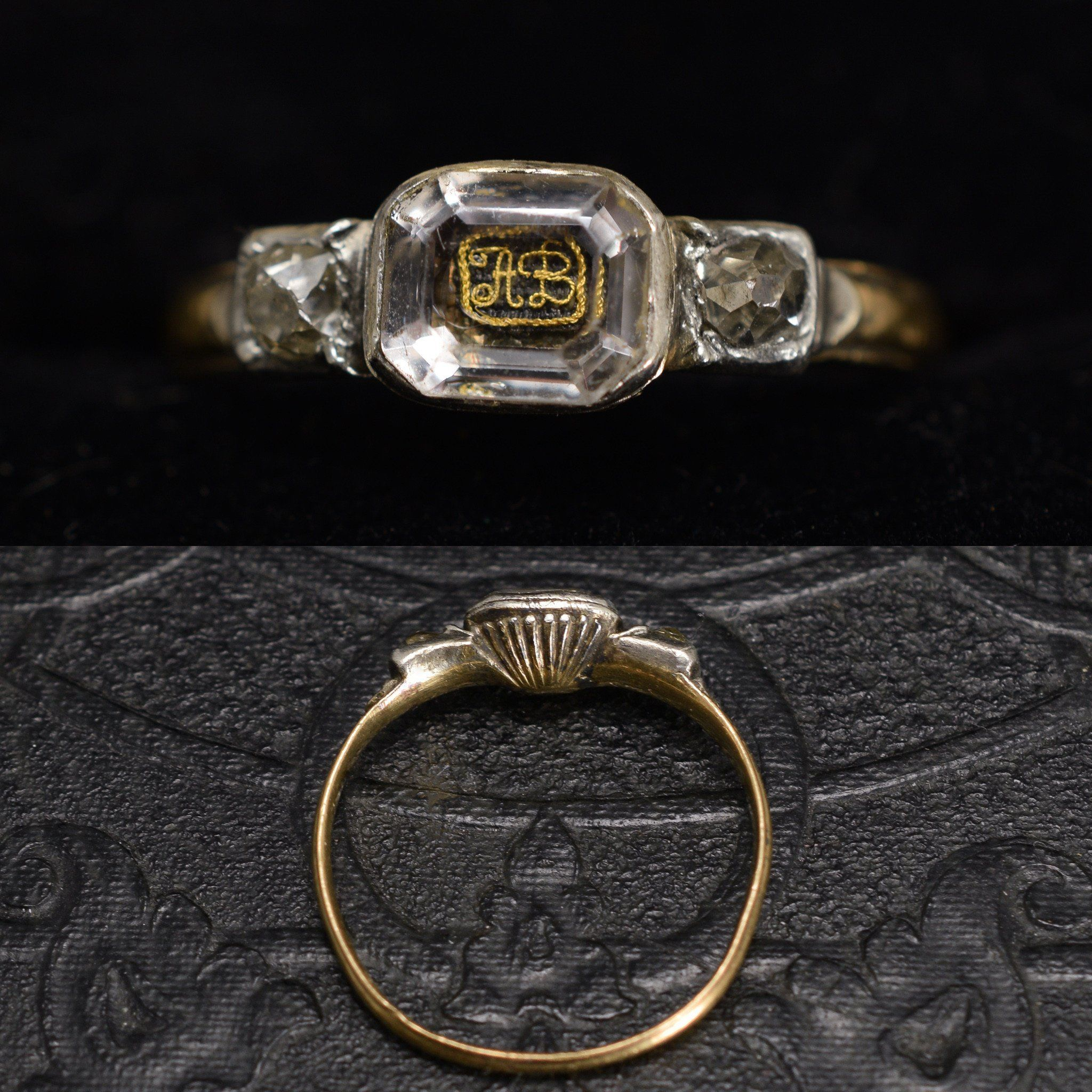 """Face and side detail of Stuart Crystal Ring with """"AB"""" Cipher and Old Mine Cut Diamonds"""