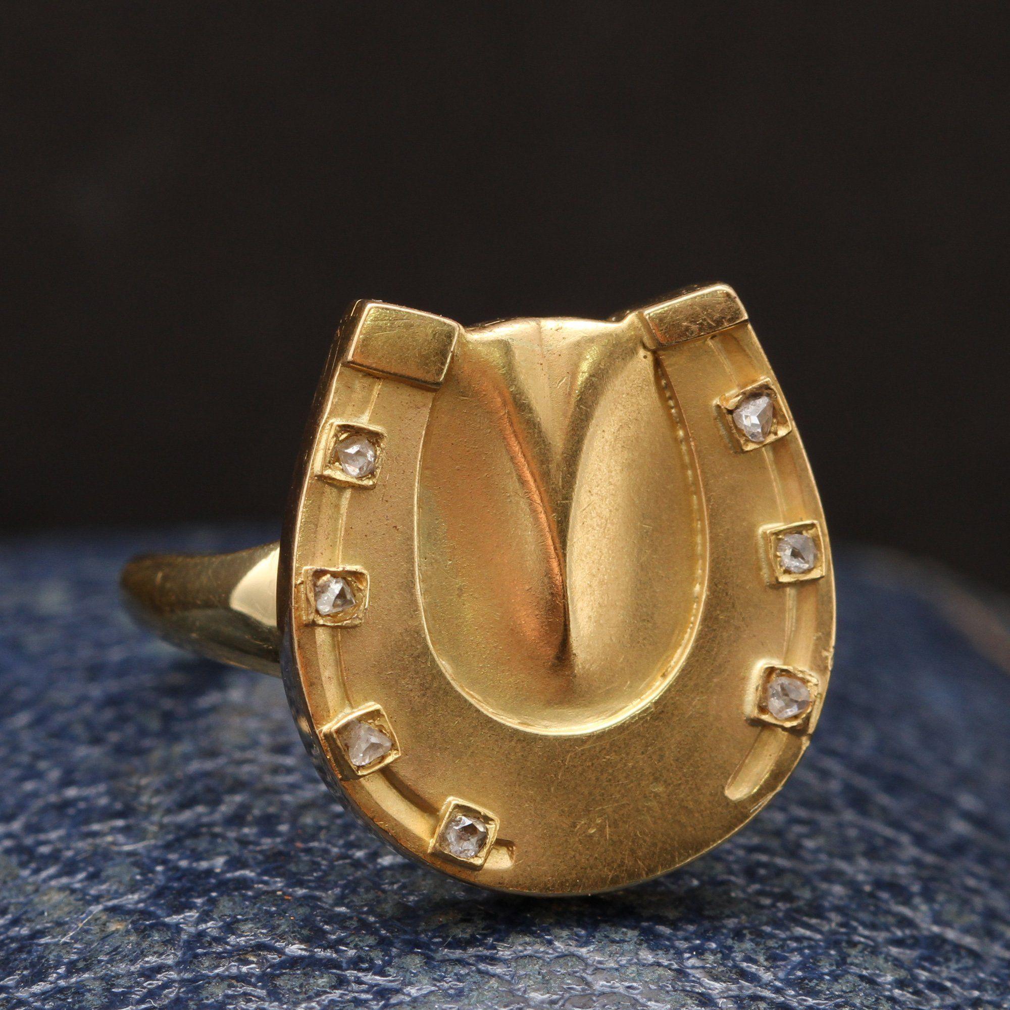 Edwardian Horseshoe Ring with Rose Cut Diamonds