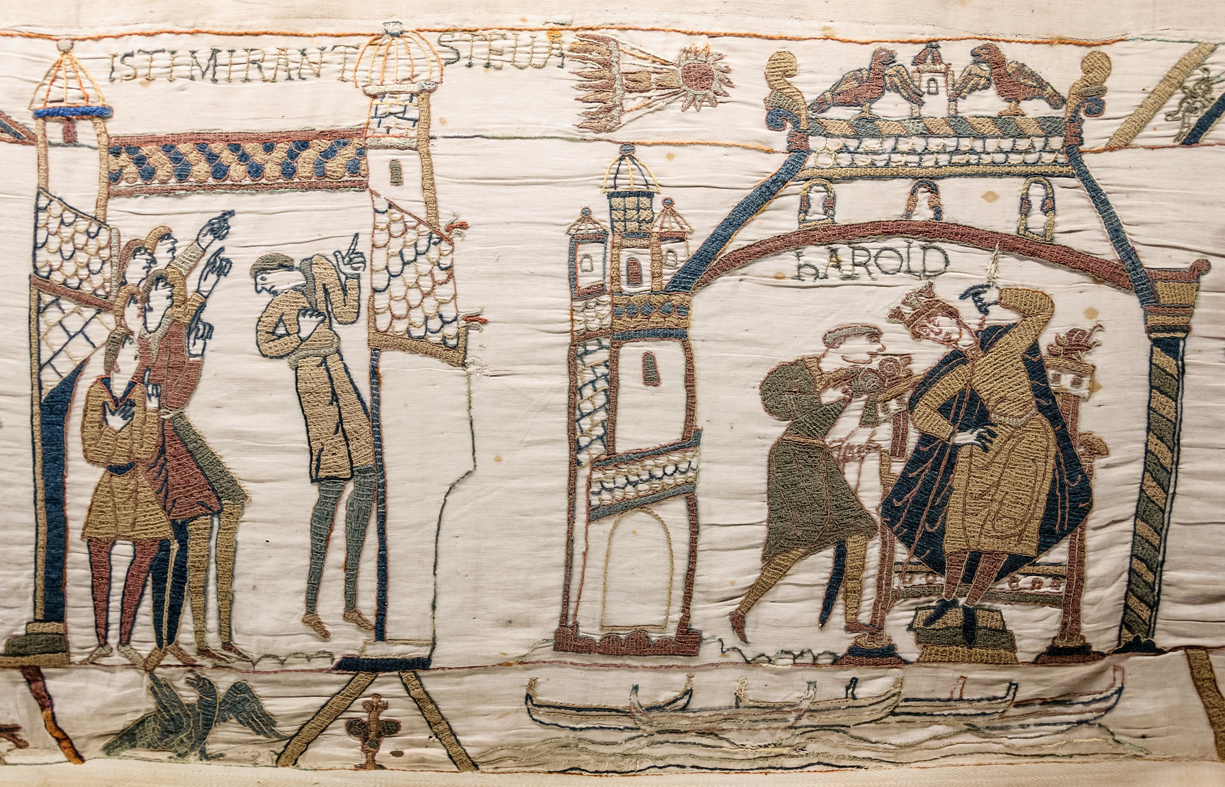 A panel of the Bayeux tapestry showing Halley's comet.