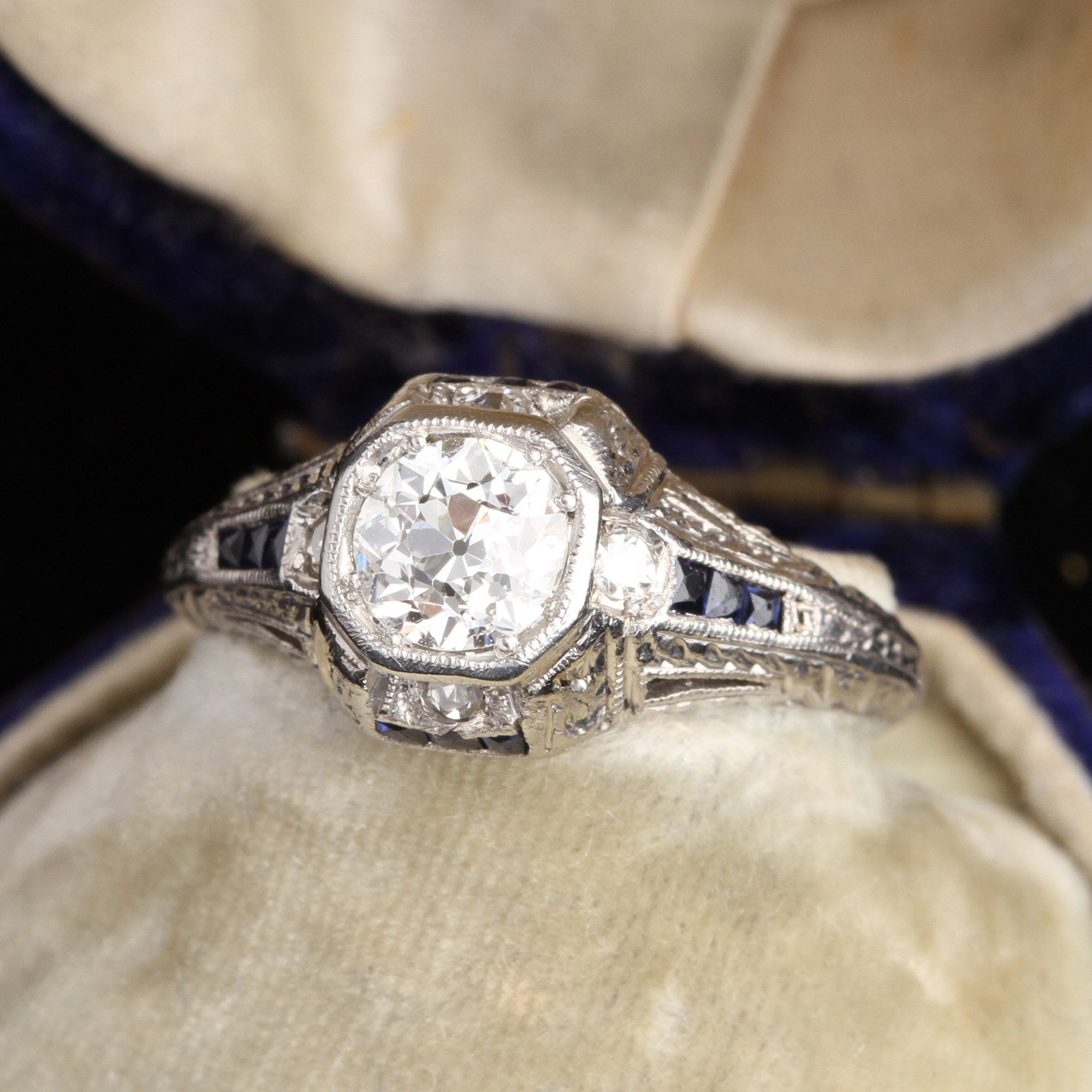 Octagonal Deco Diamond Engagement Ring with Sapphire and Diamond Accents