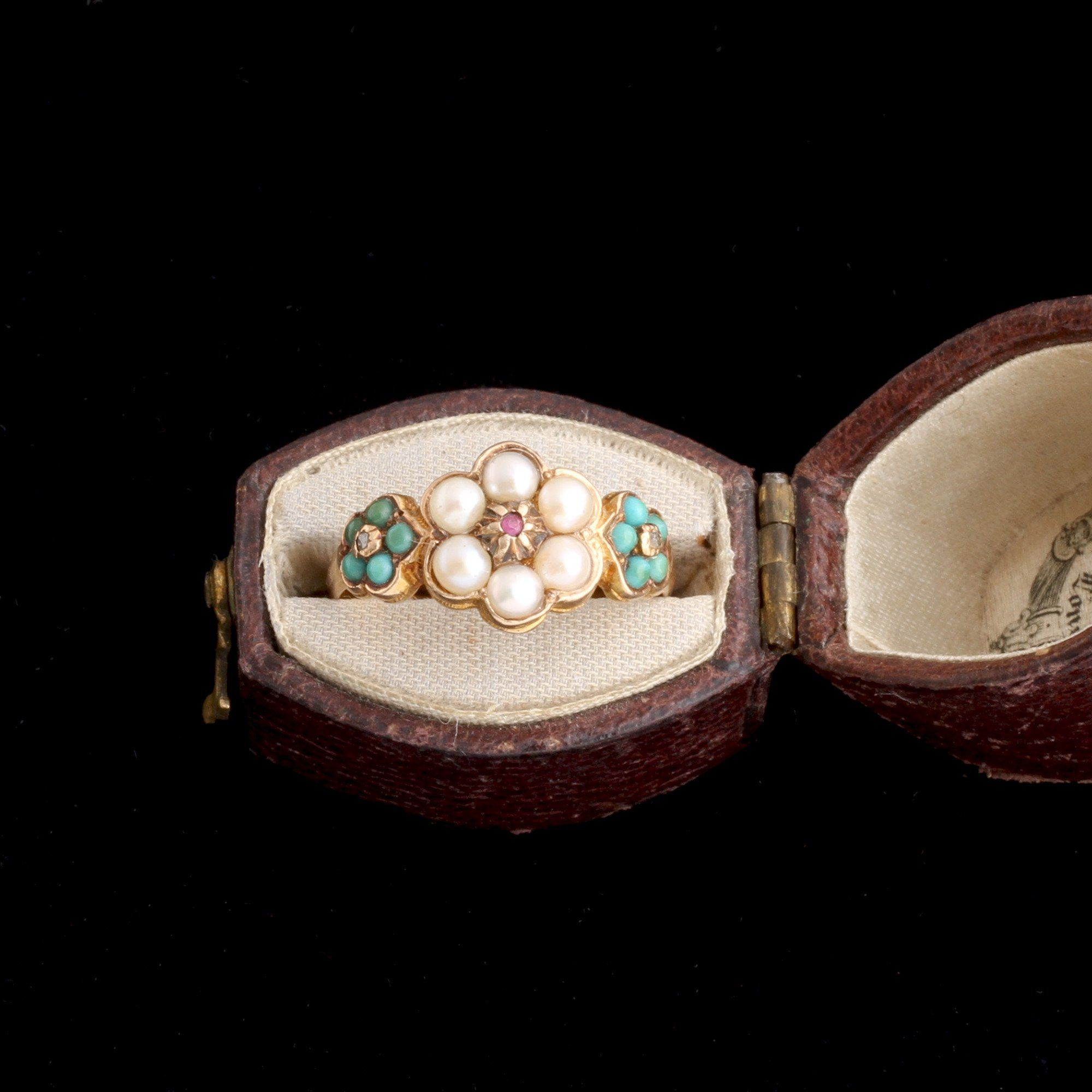Victorian Pearl & Turquoise Cluster Ring