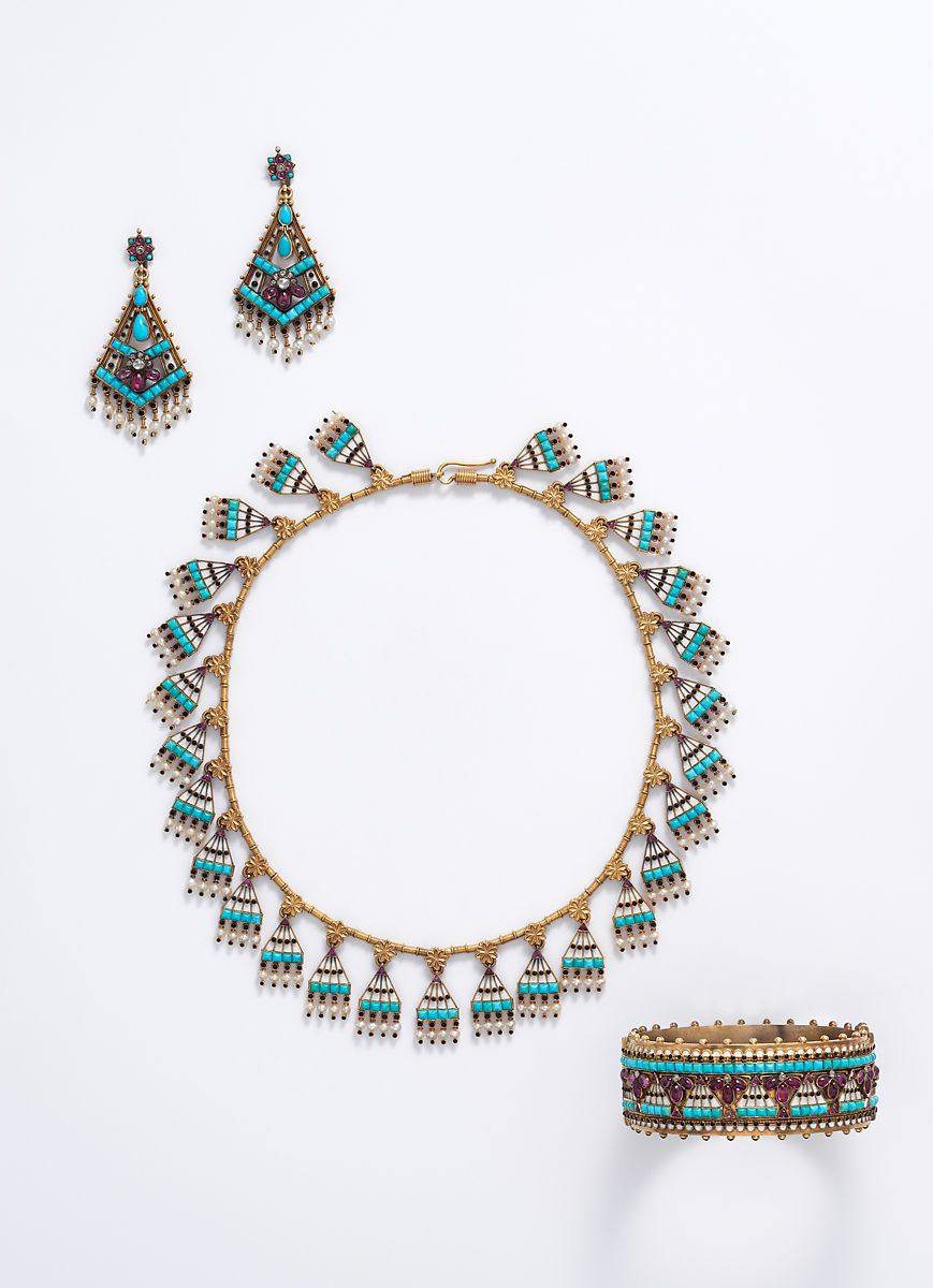Egyptian Revival demi-parure, ca 1865, Carlo Giuliano, in the collection of the Metropolitan Museum of Art