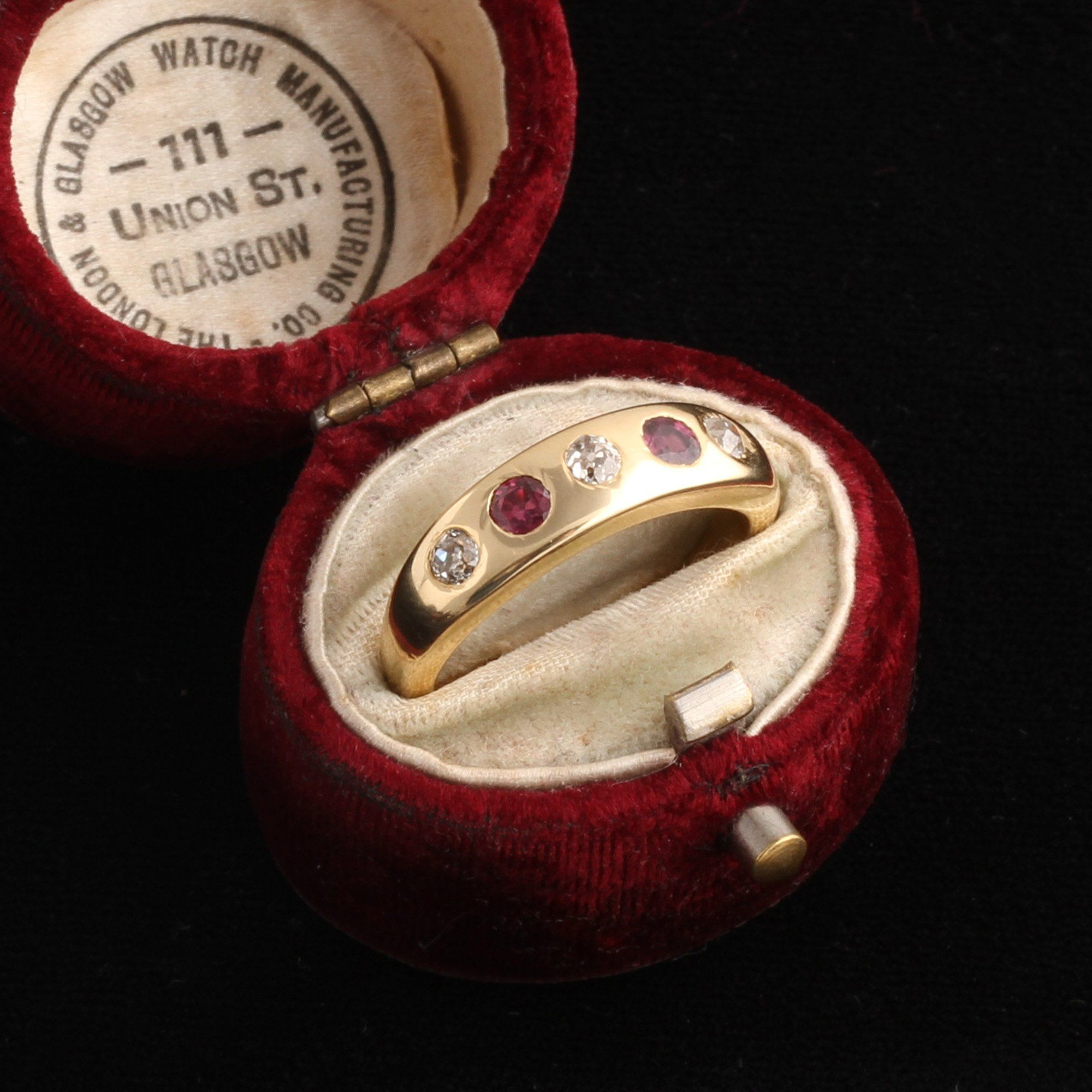 Victorian Diamond and Ruby Five Stone Ring