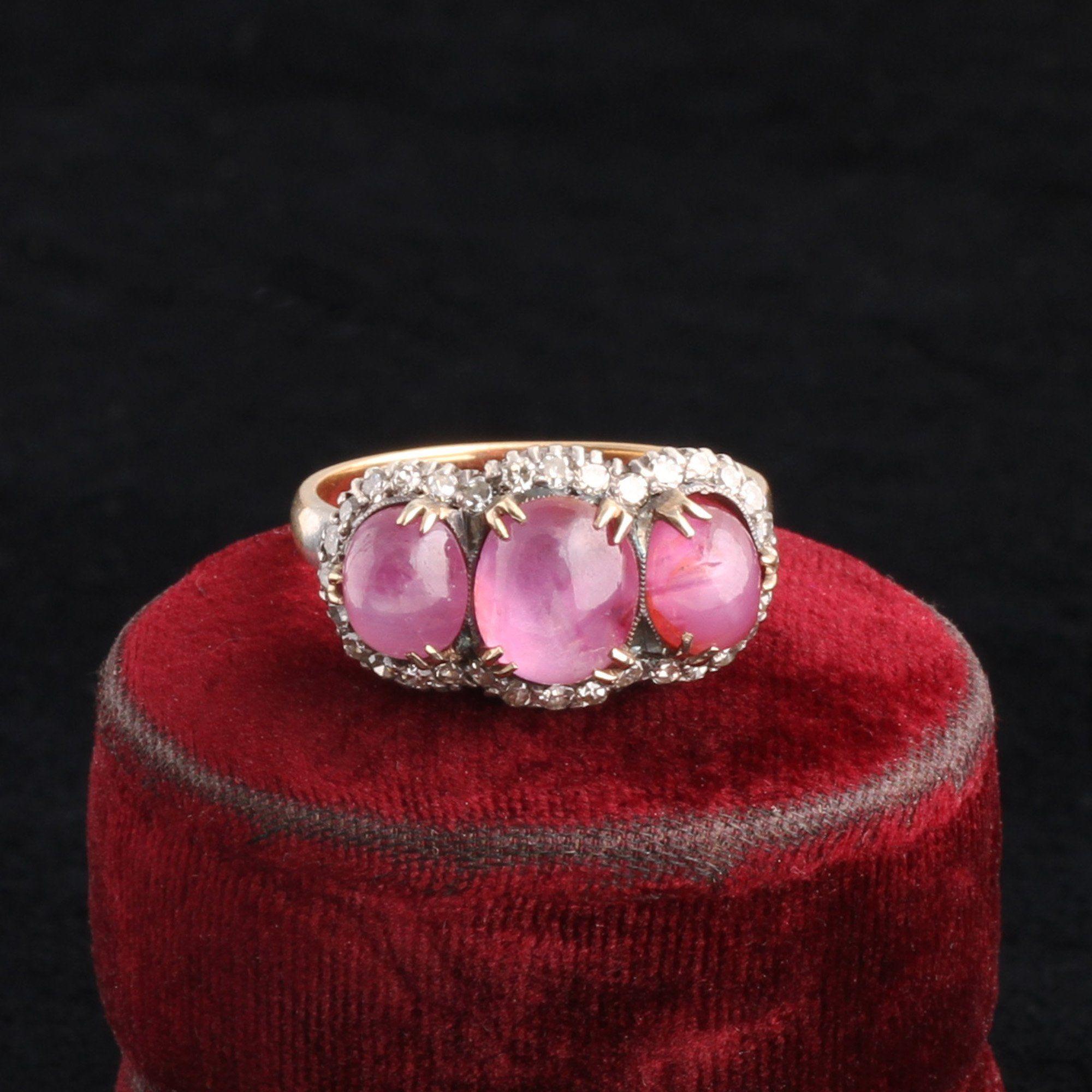 Vintage Star Ruby Triple Cluster Ring