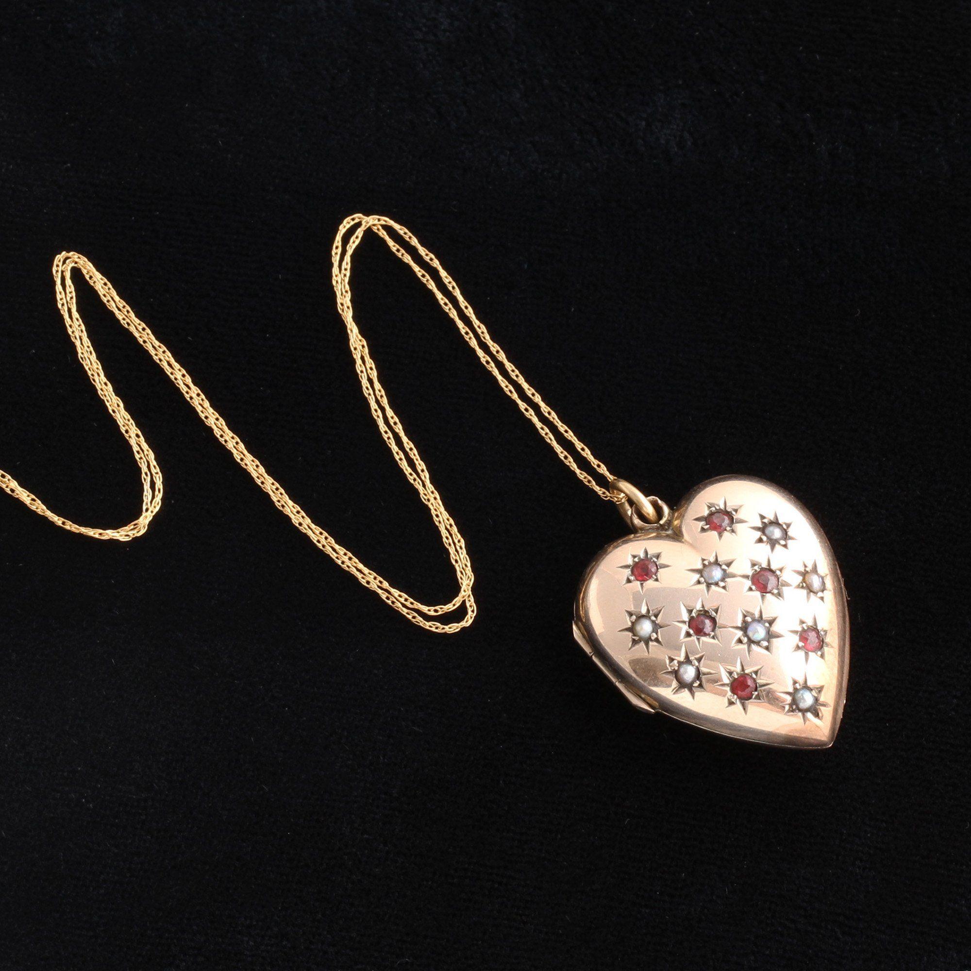Victorian Garnet & Pearl Heart Locket