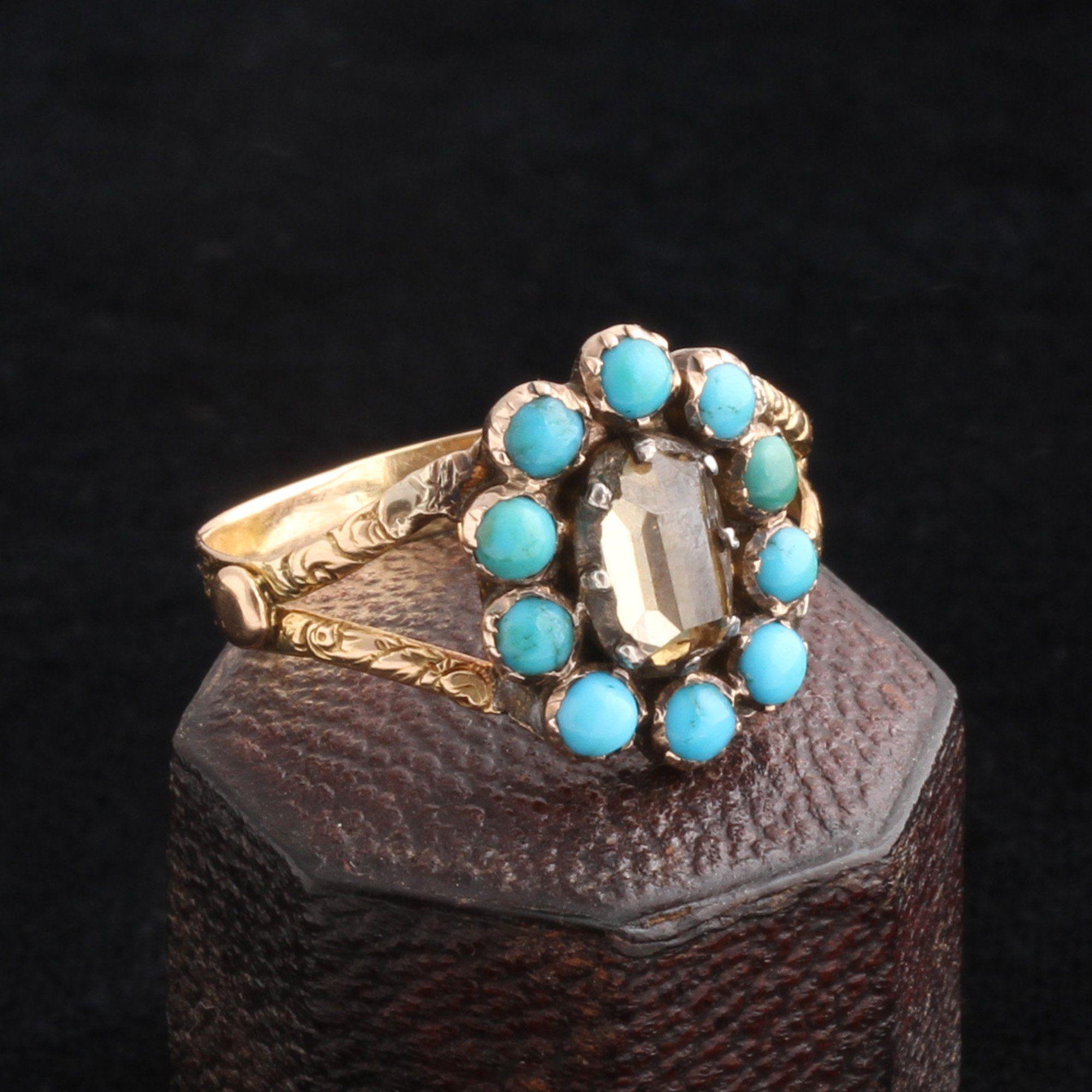 Georgian Table Cut Diamond & Turquoise Cluster Ring