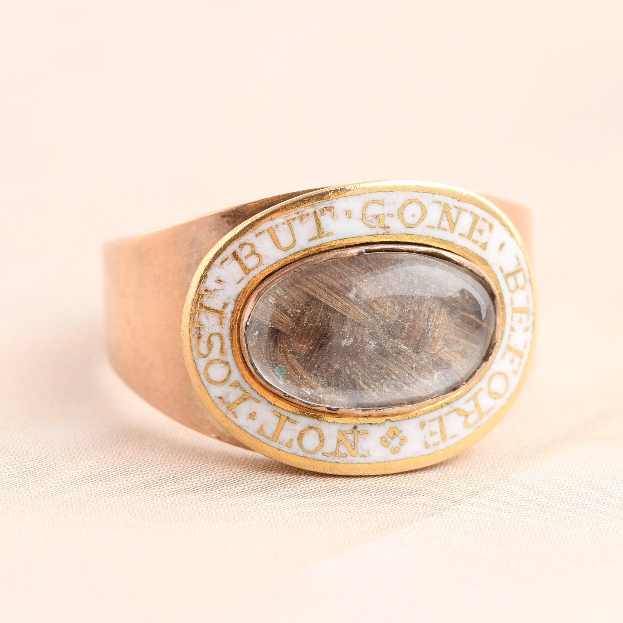 """Detail of """"Not Lost But Gone Before"""" White Enamel Mourning Ring"""