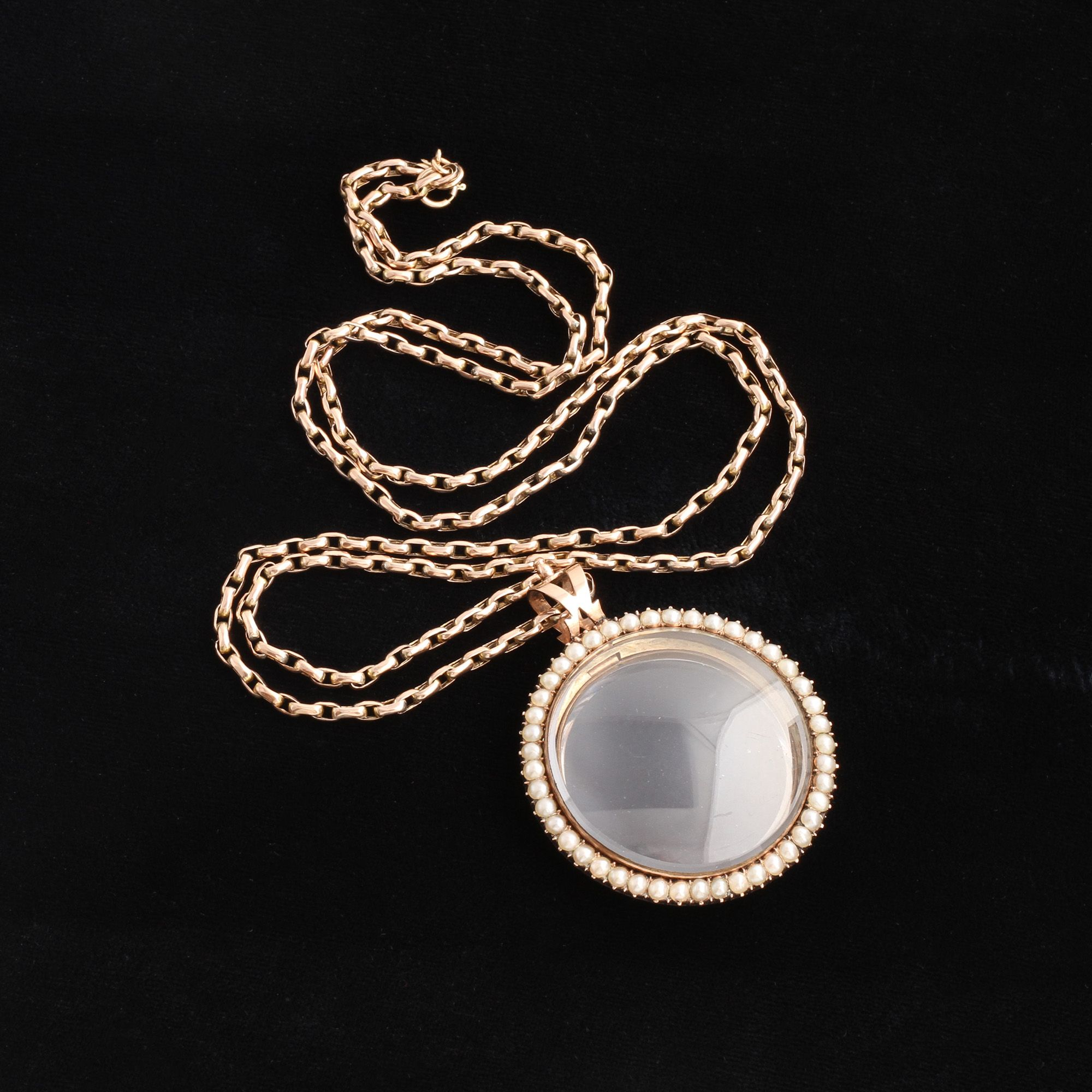 Detail of Early Victorian Rose Gold and Pearl Large Locket Necklace