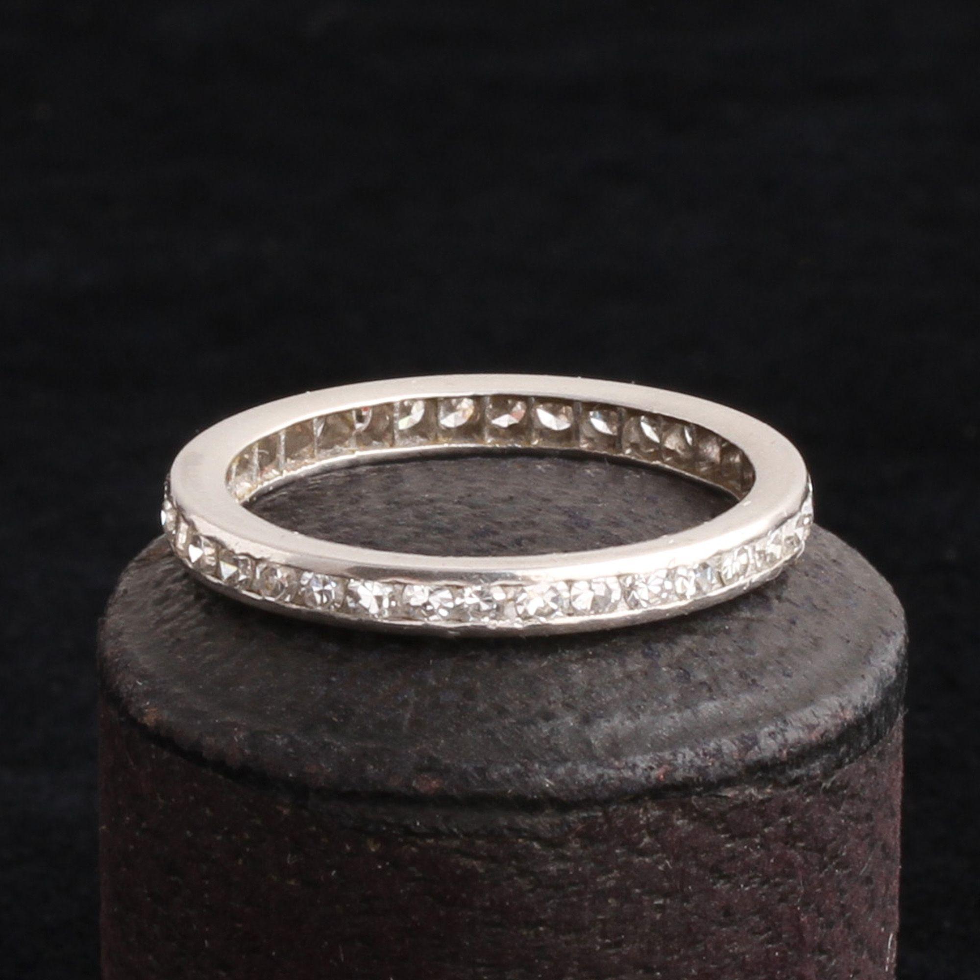 Platinum Eternity Ring with Single Cut Diamonds Size 6.5