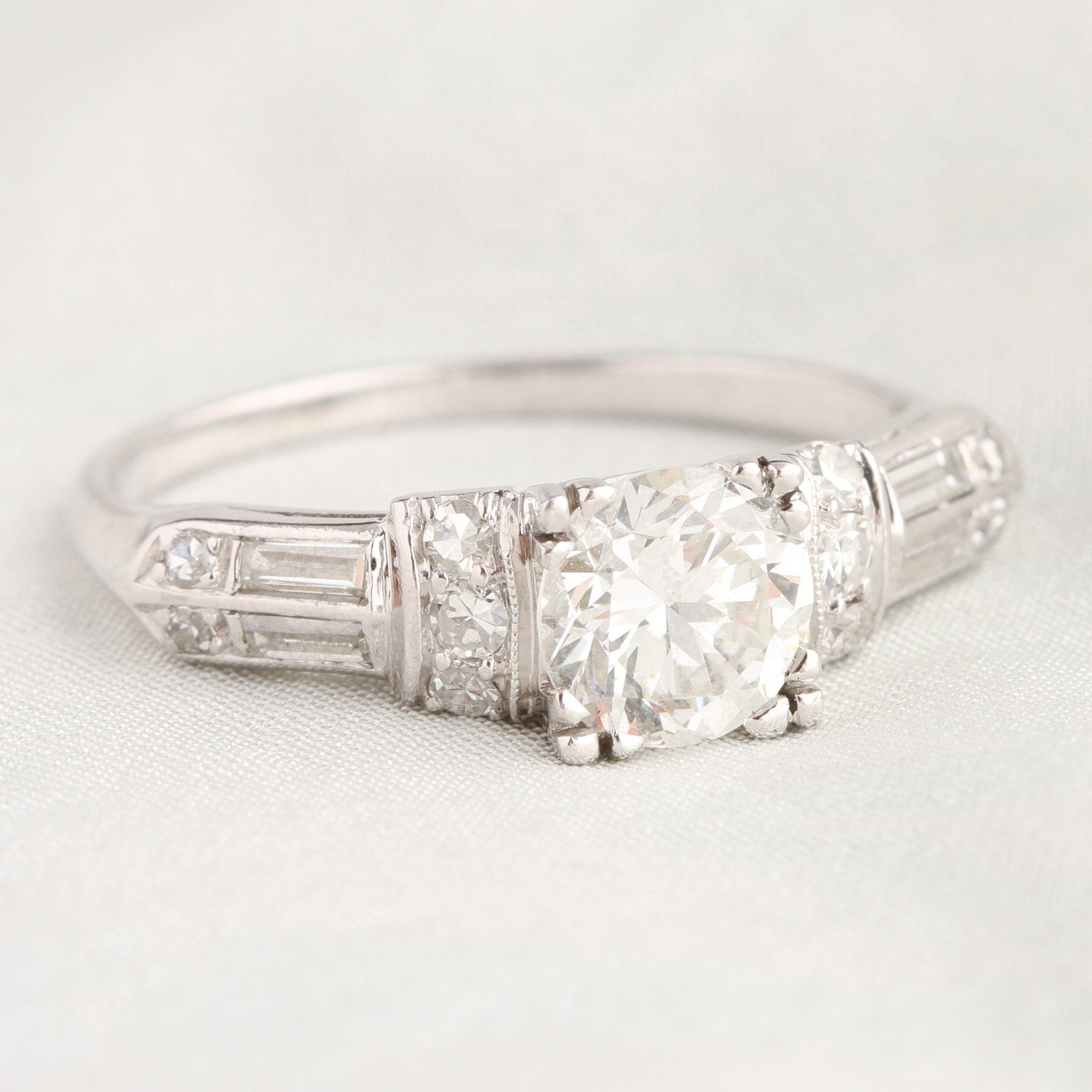 1940s 1.5ctw Diamond Engagement Ring with Gradient Shoulders
