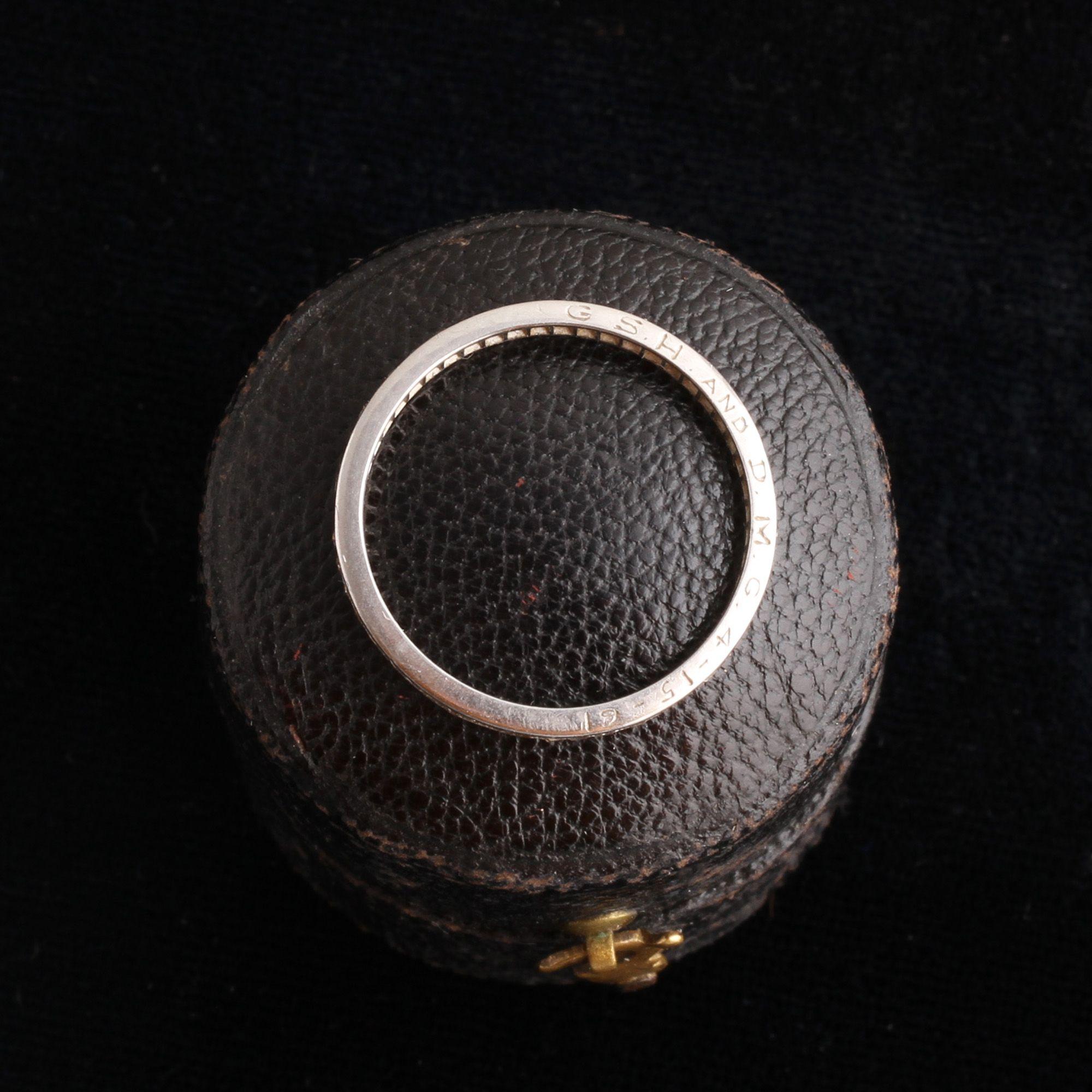 Vintage Platinum Mixed Cut Diamond Eternity Ring Size 6.5