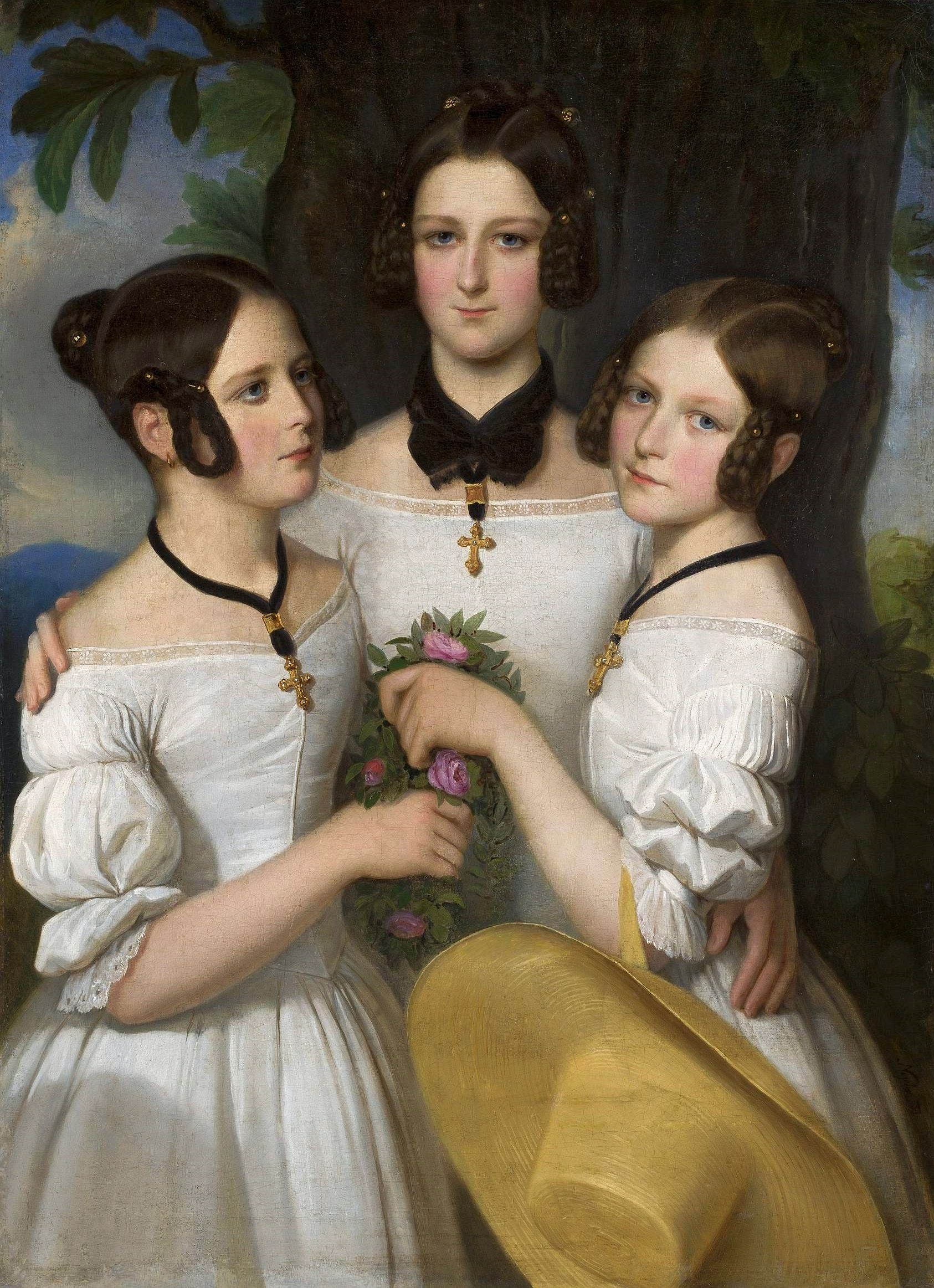 """""""Portrait of Three Girls"""" (1839) by Johann Nejebse, National Museum in Warsaw"""