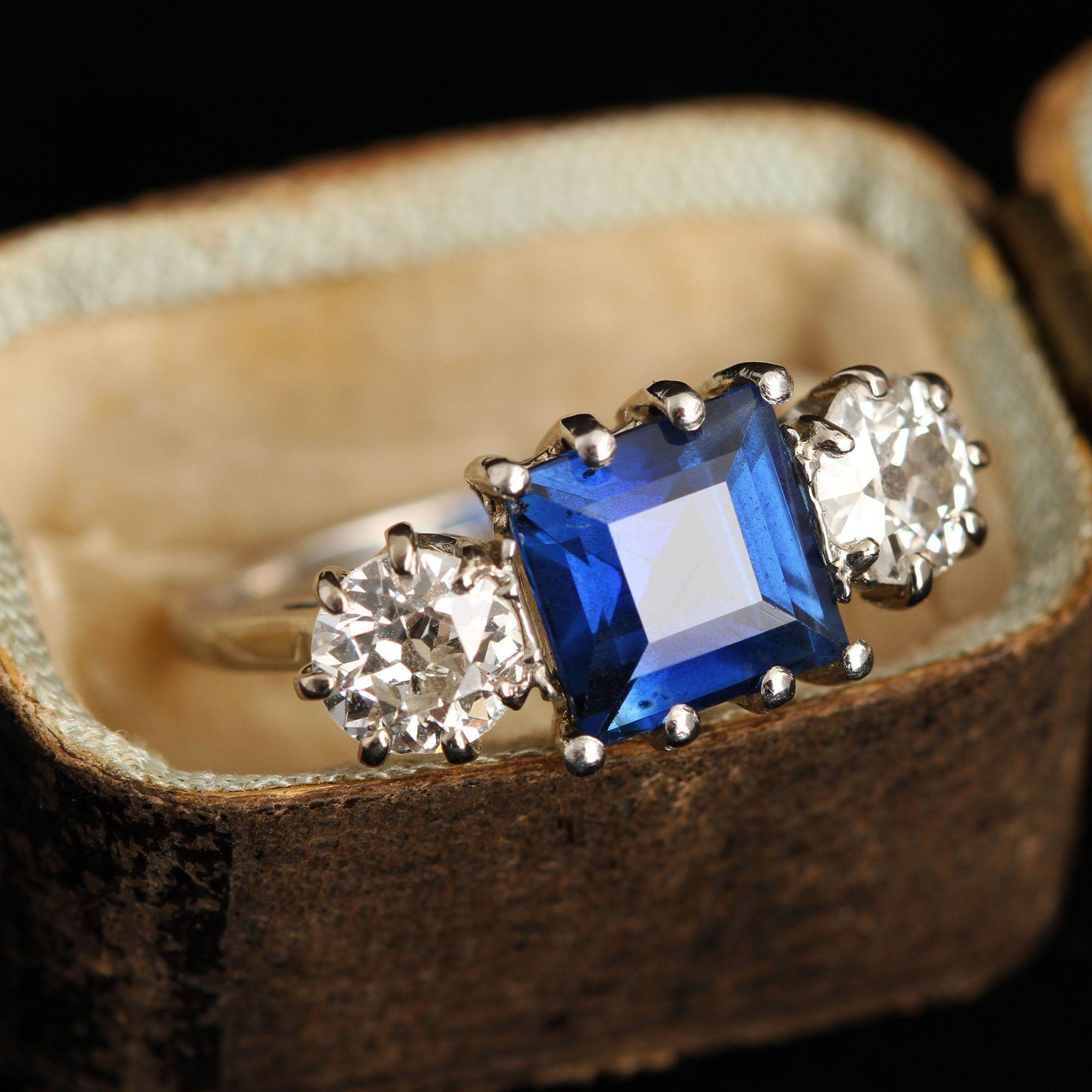 Platinum 3.21ct Sapphire and 1.02ctw Old European Cut Diamond Trilogy Ring