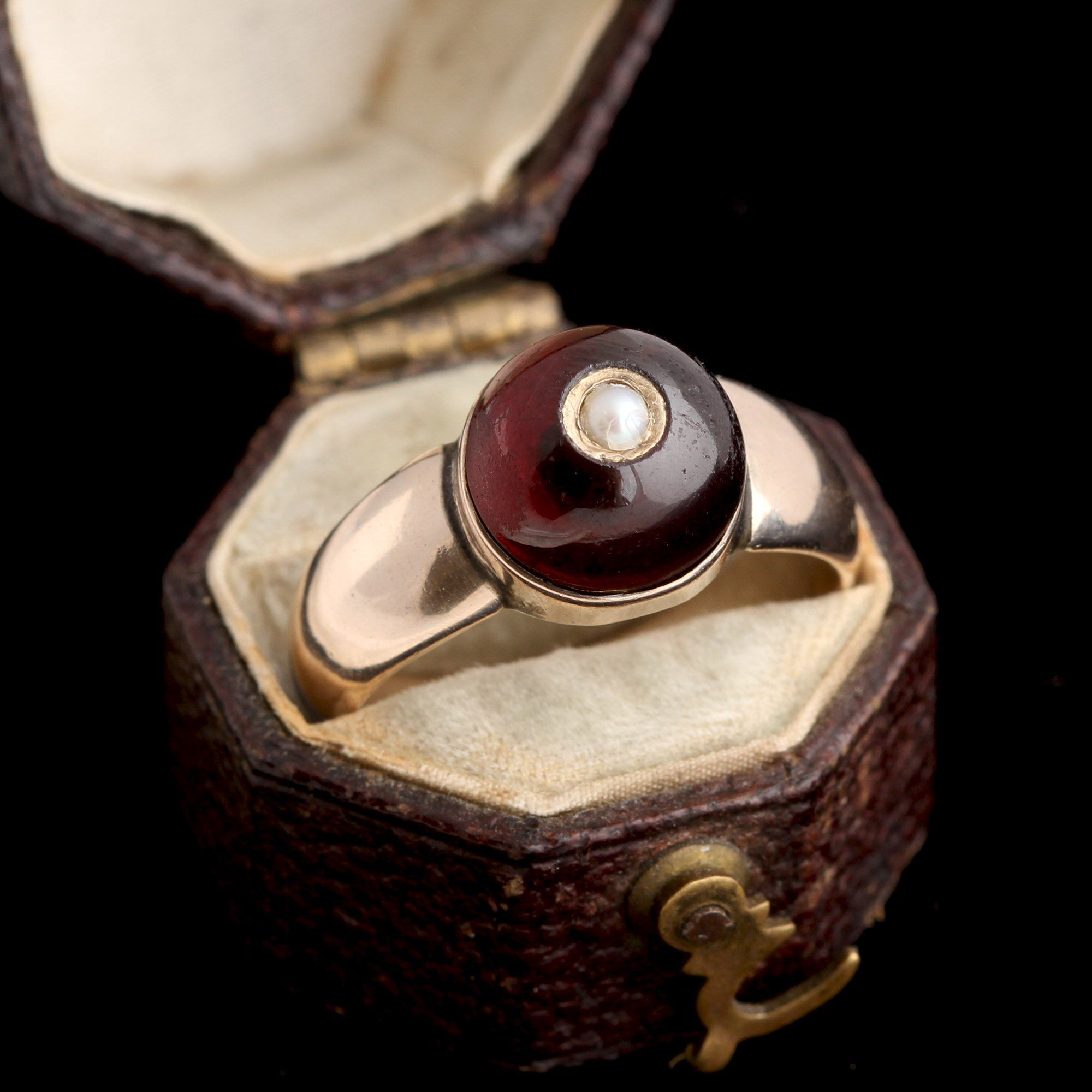 Victorian Garnet Cabochon with Pearl Ring