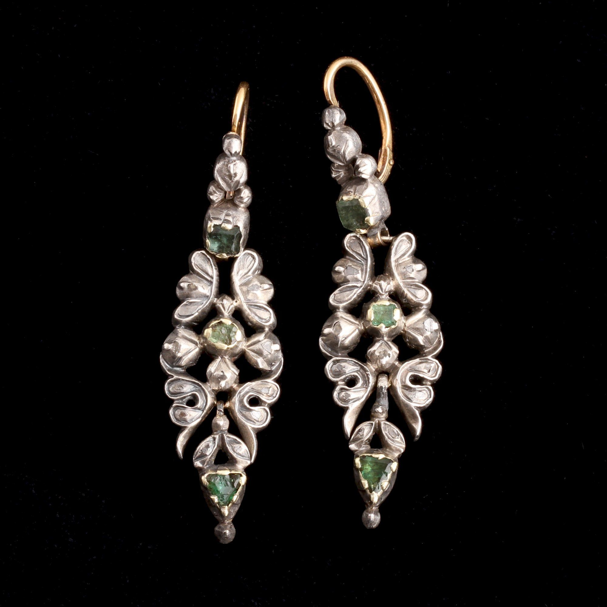 18th Century Iberian Emerald & Diamond Earrings
