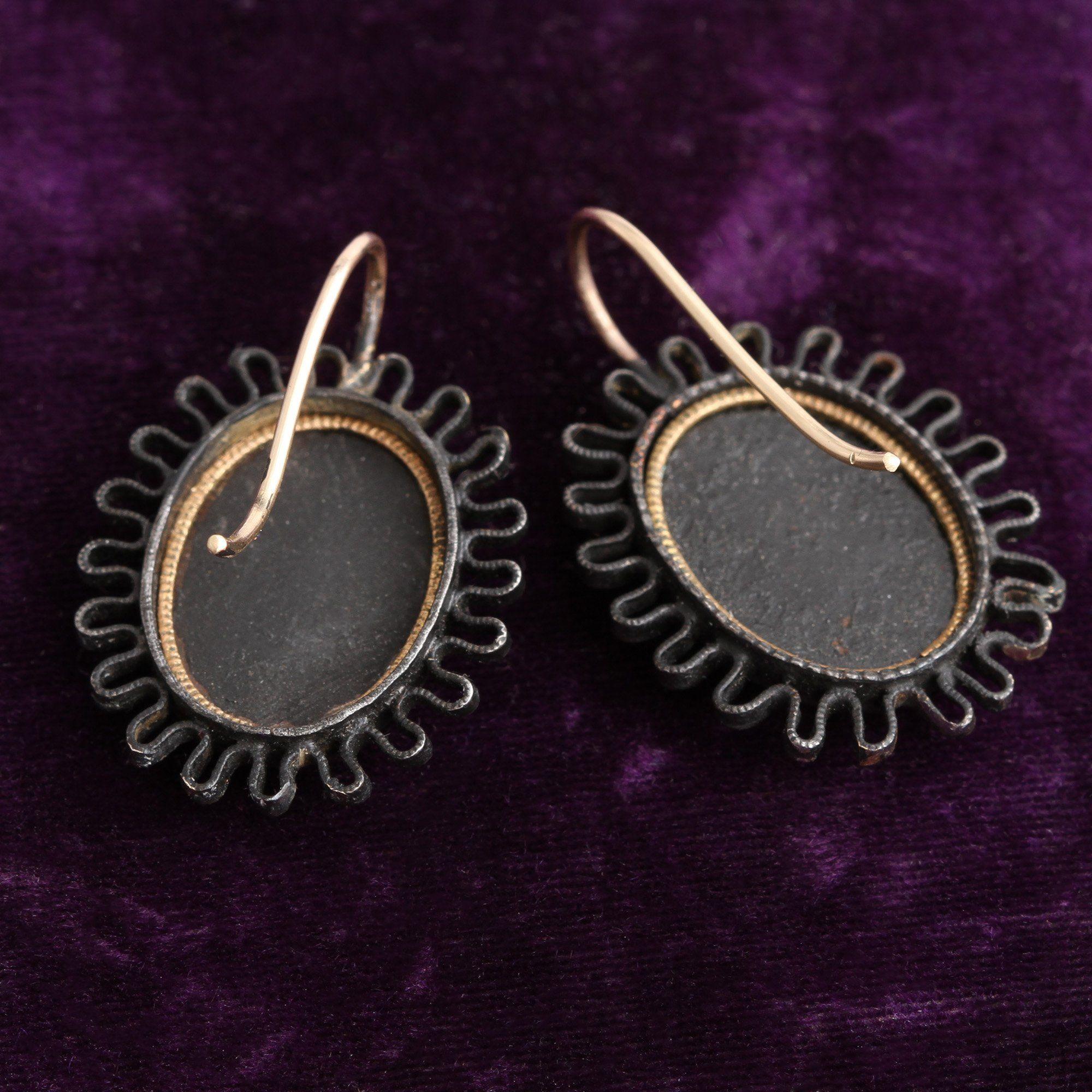 Berlin Iron Neoclassical Cameo Earrings