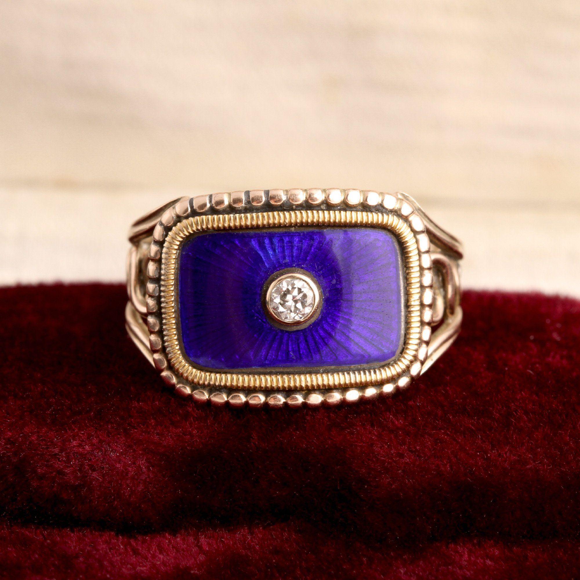 Victorian Blue Enamel & Diamond Mourning Ring