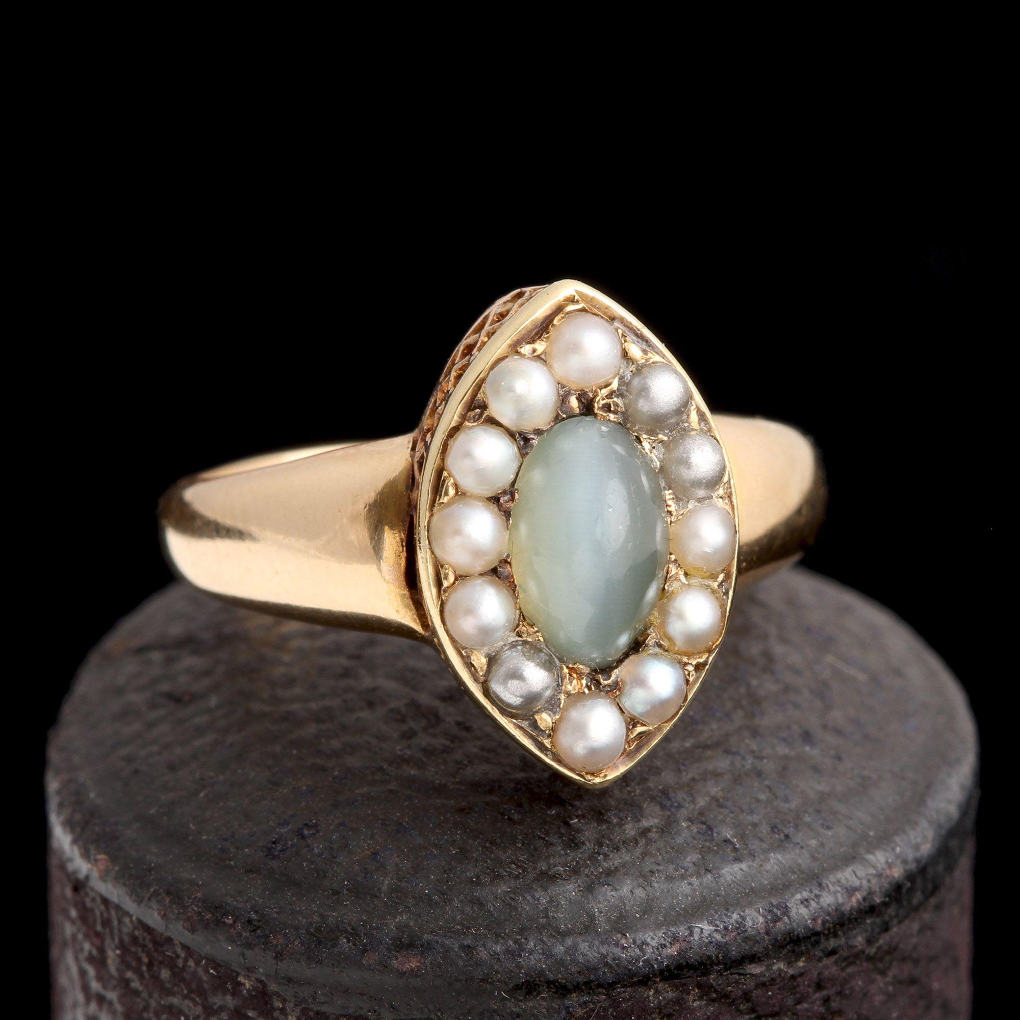 Victorian Cat's Eye Chrysoberyl & Pearl Cluster Ring