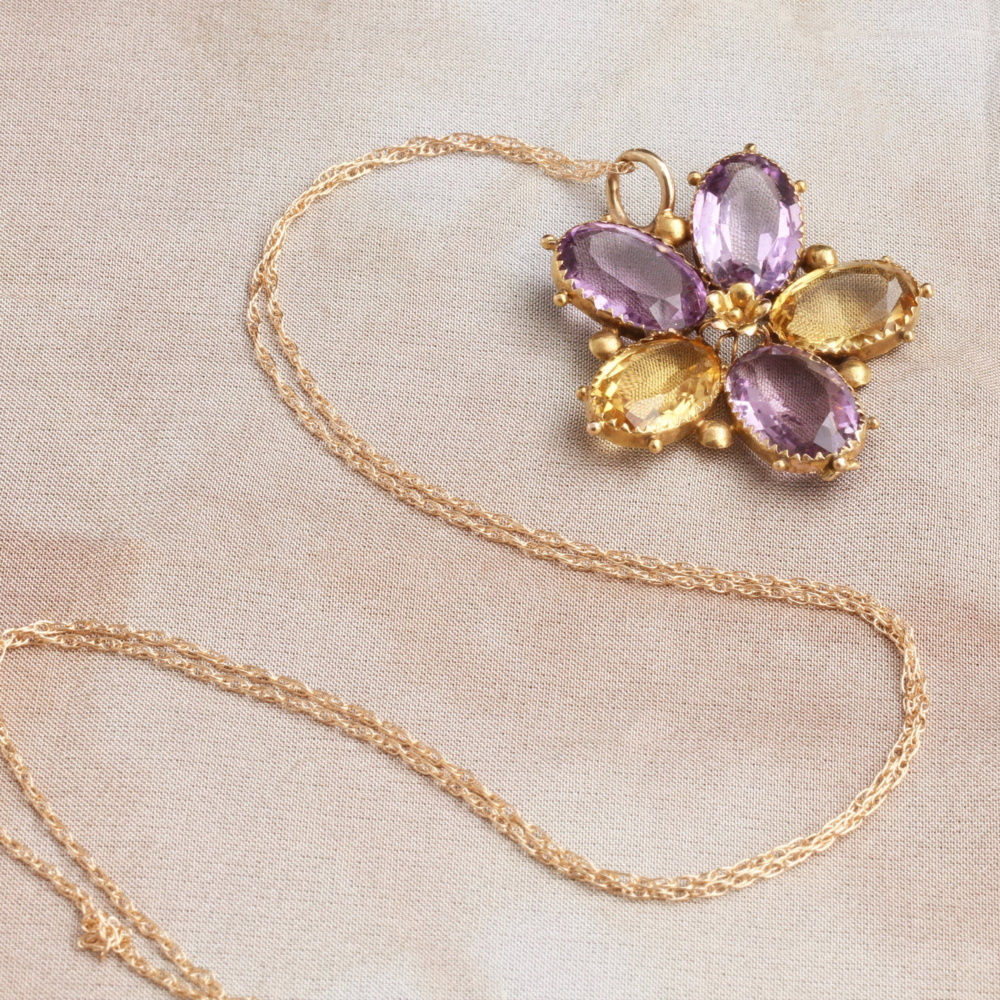 Detail of Victorian Amethyst and Citrine Pansy Pendant
