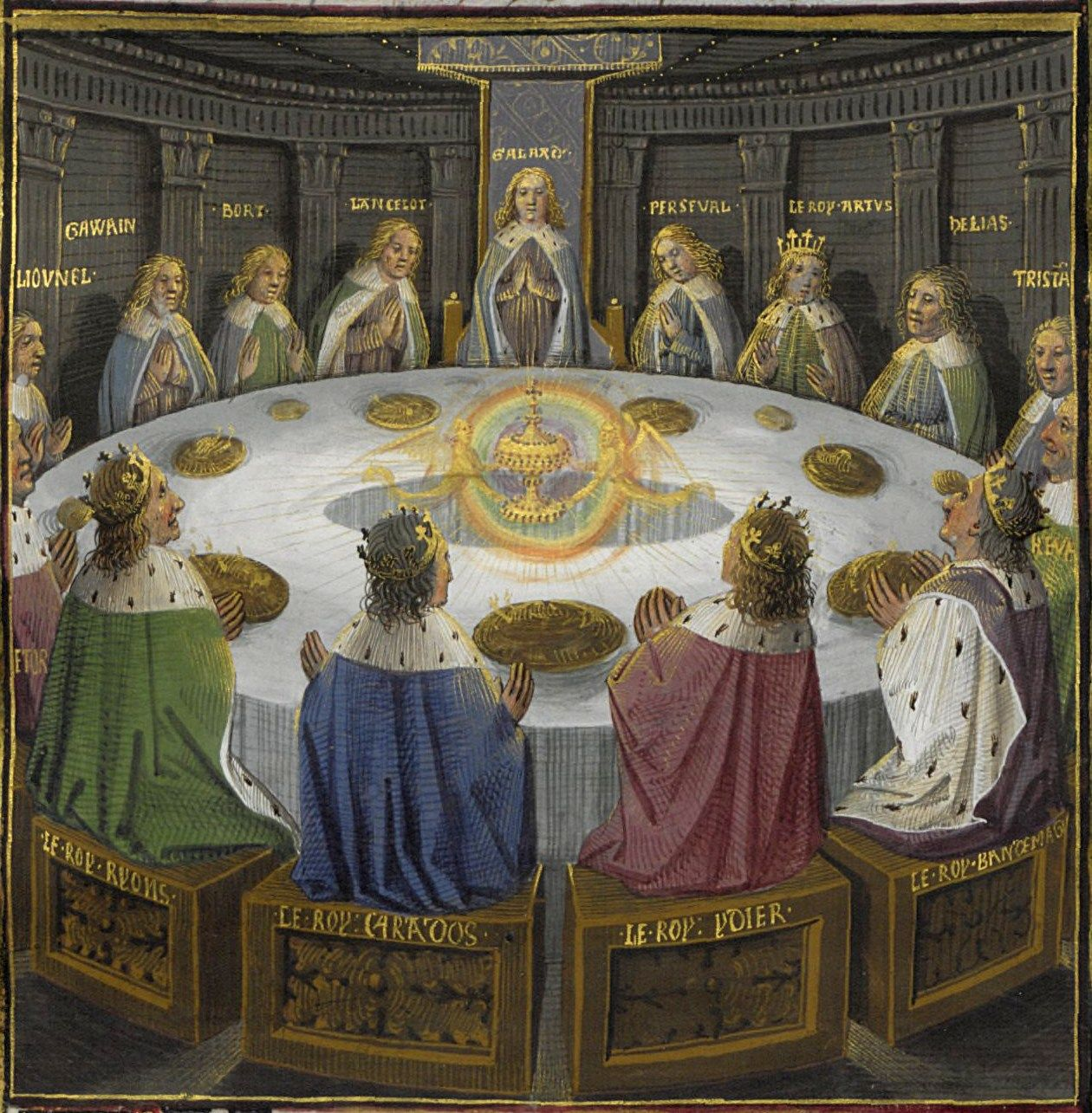 An illustration of King Arthur's knights at the round table seeing a vision of the holy grail