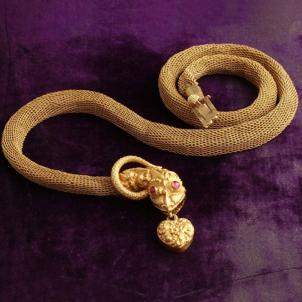 Mid Victorian Snake Collar with Mesh Chain