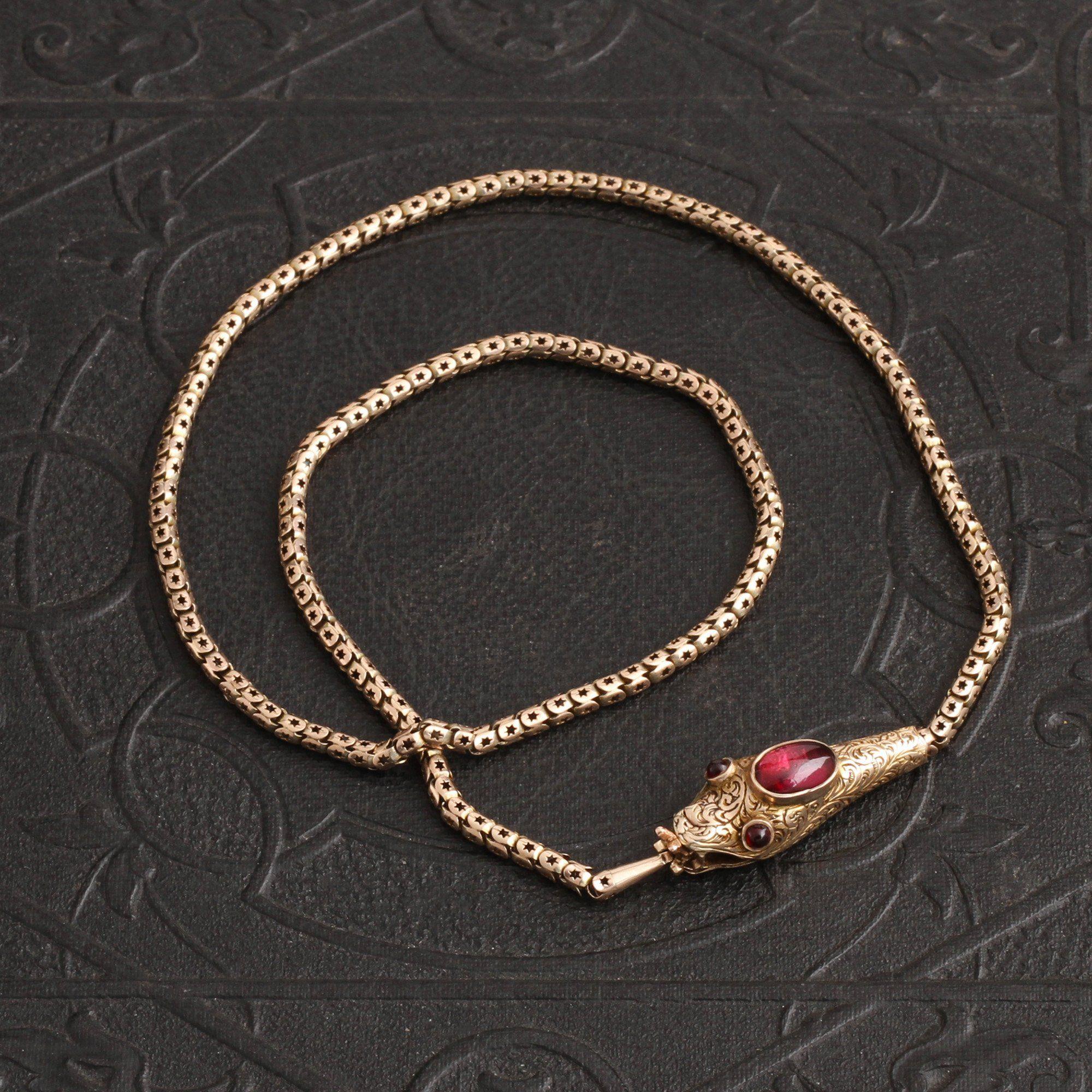 Victorian Garnet Cabochon Serpent Collar