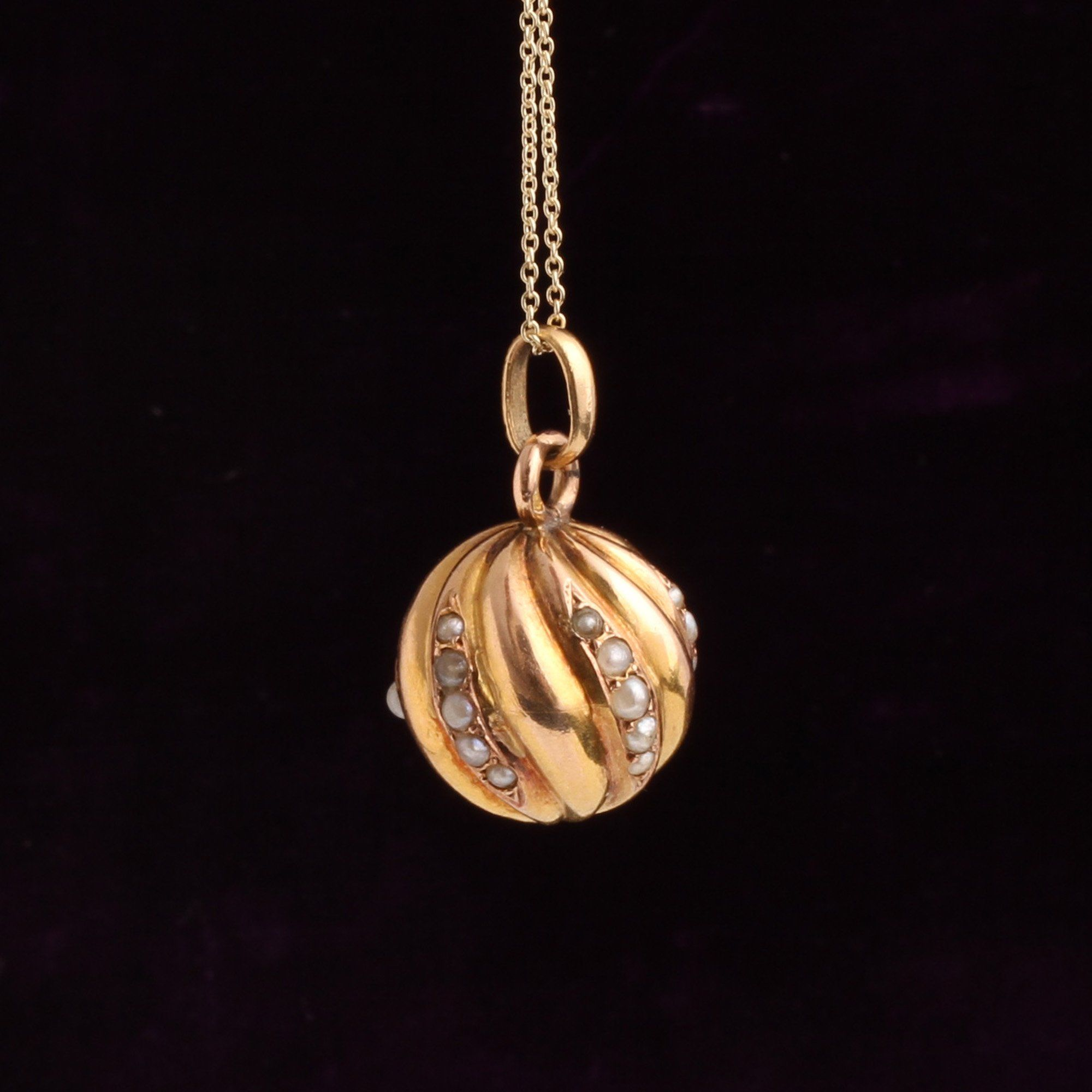 19th Century French Seed Pearl Orb Pendant