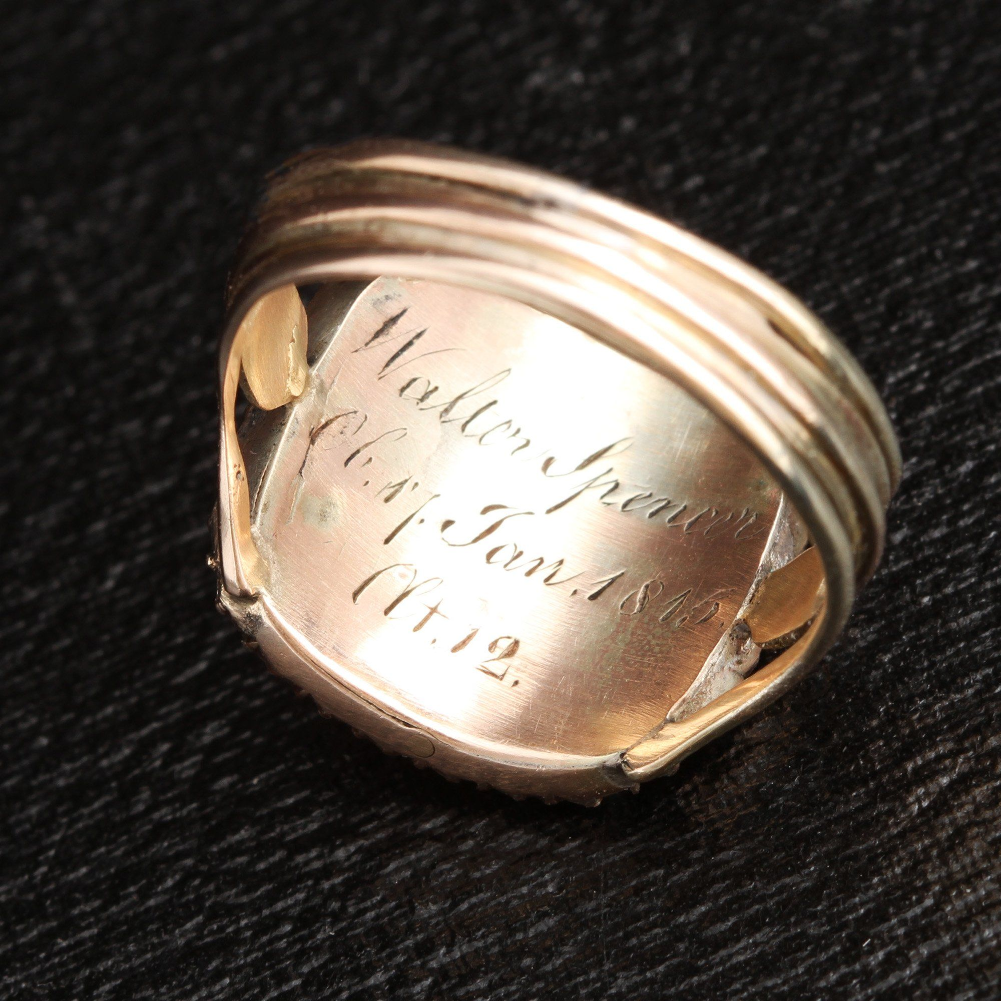 Inscription detail of Georgian Weeping Willow Mourning Ring