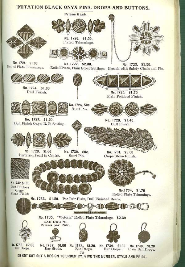 Mail-order catalog page with a selection of black mourning jewelry and their prices.