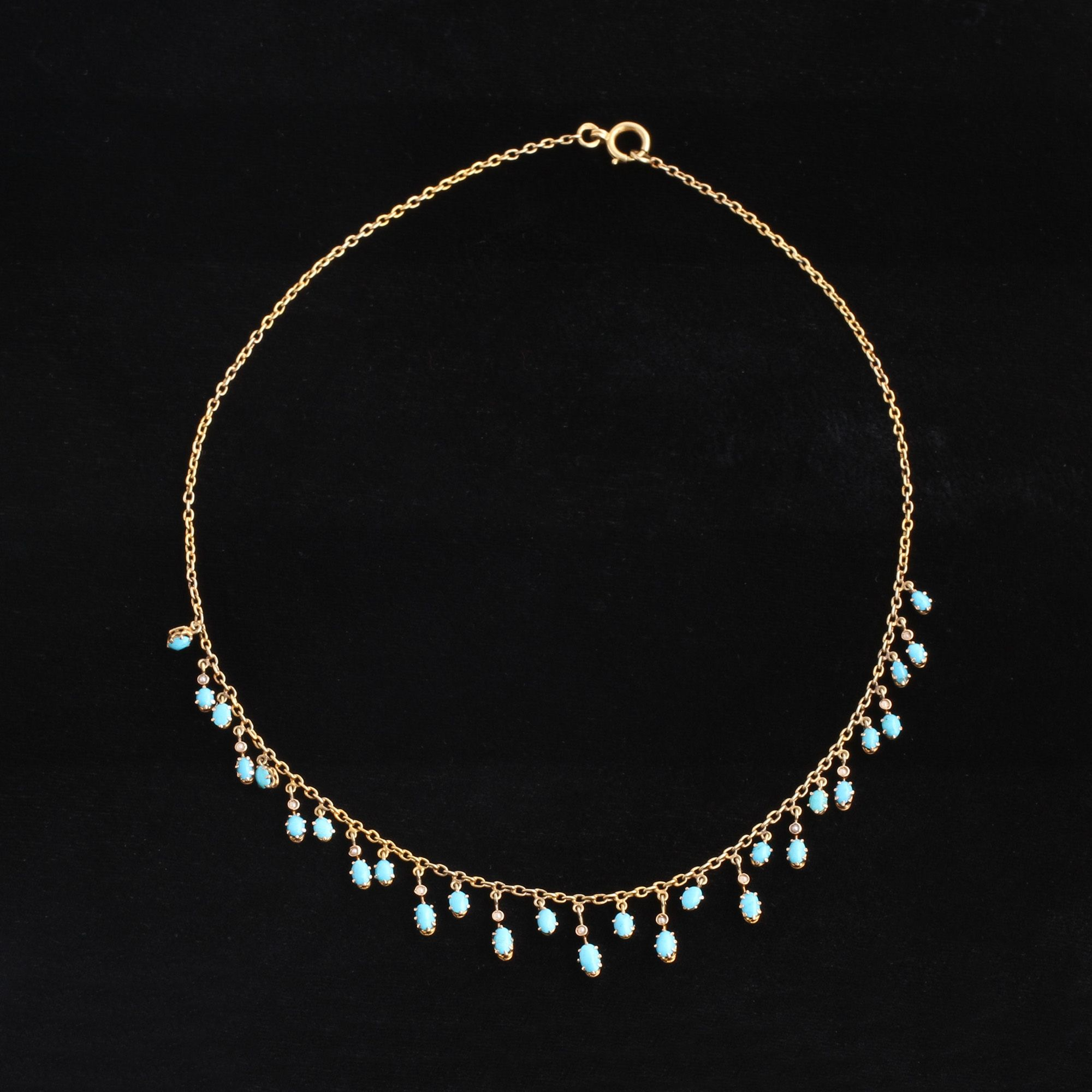Late Victorian Turquoise and Seed Pearl Fringe Necklace