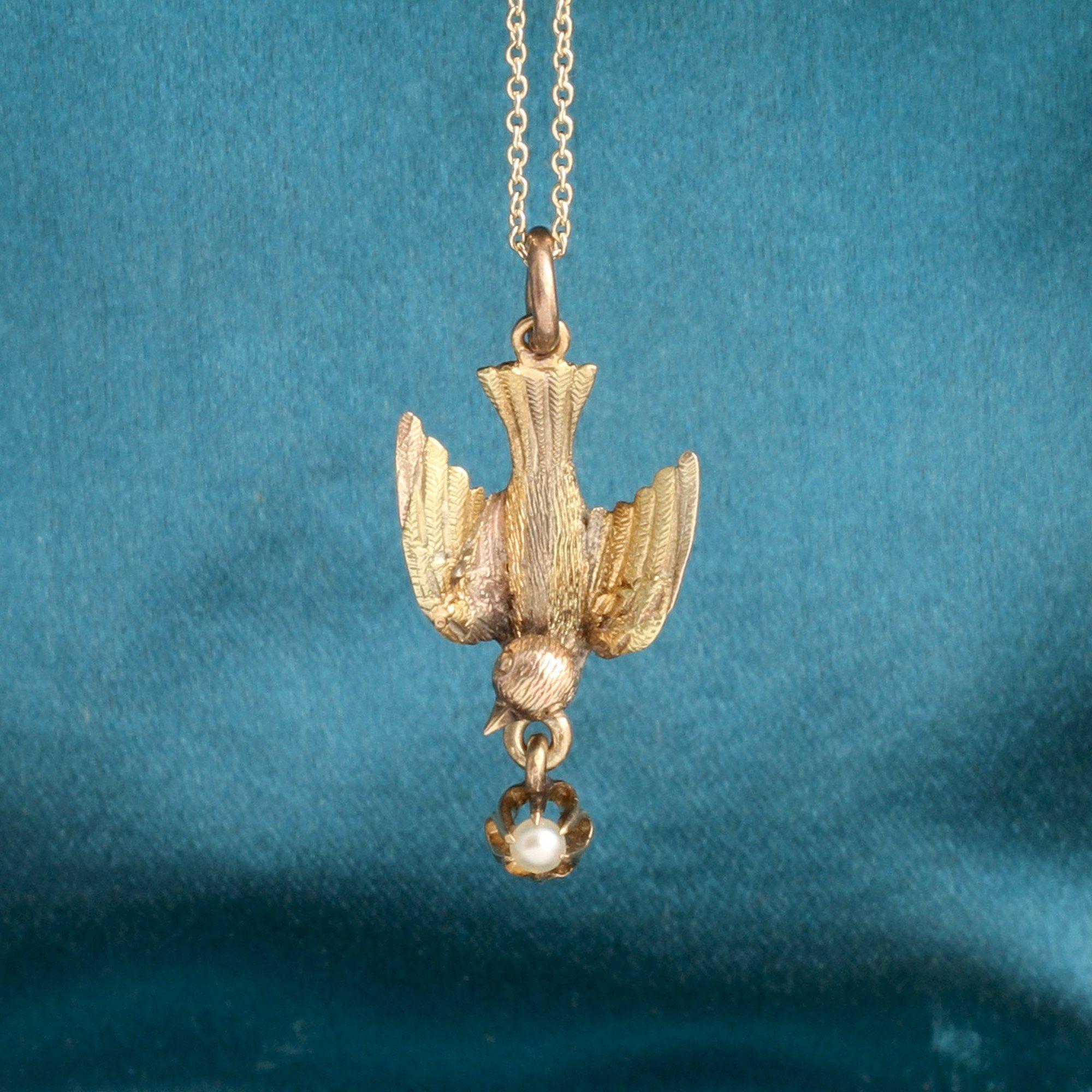 Edwardian Bird & Pearl Pendant
