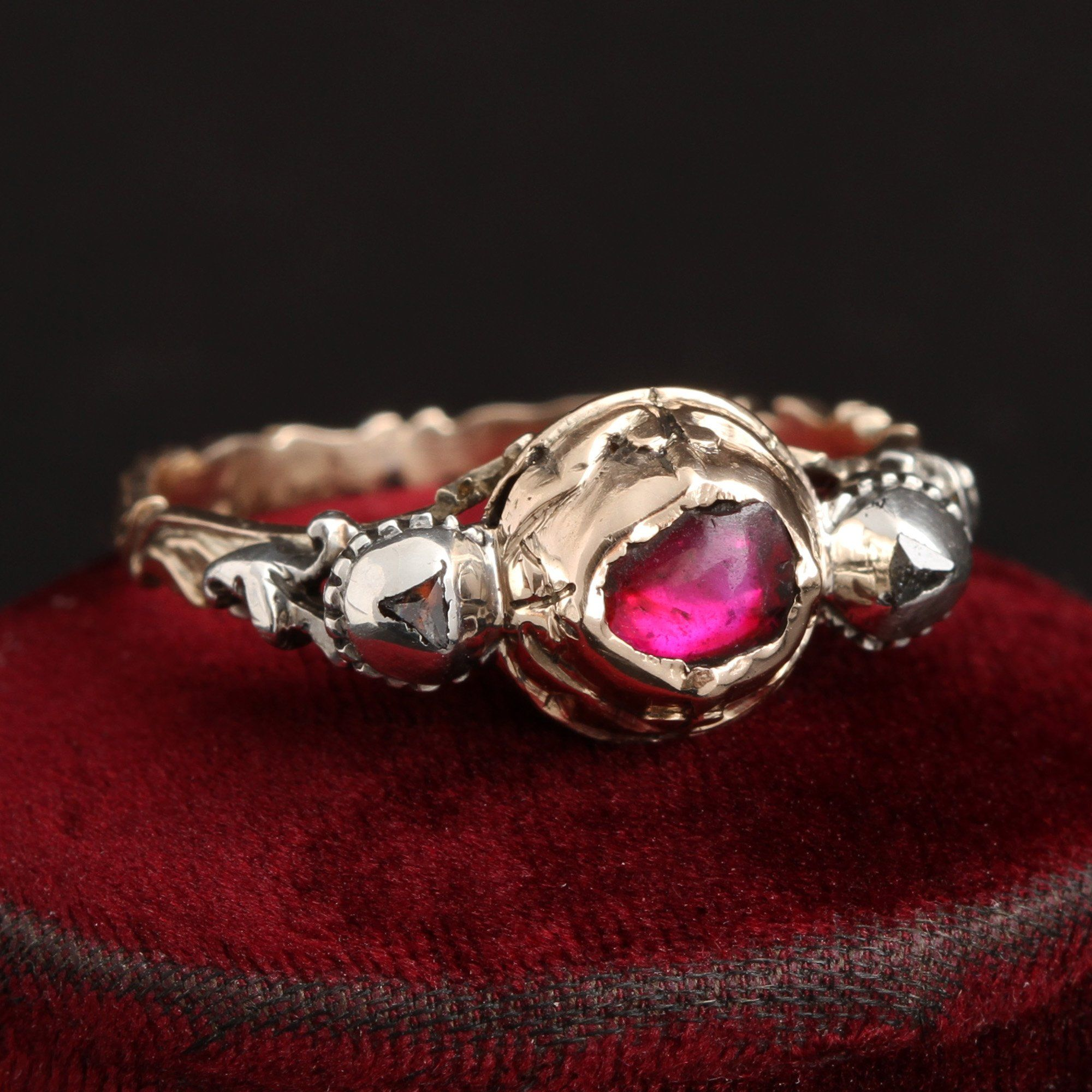 18th Century Ruby Cabochon and Macle Diamond Ring