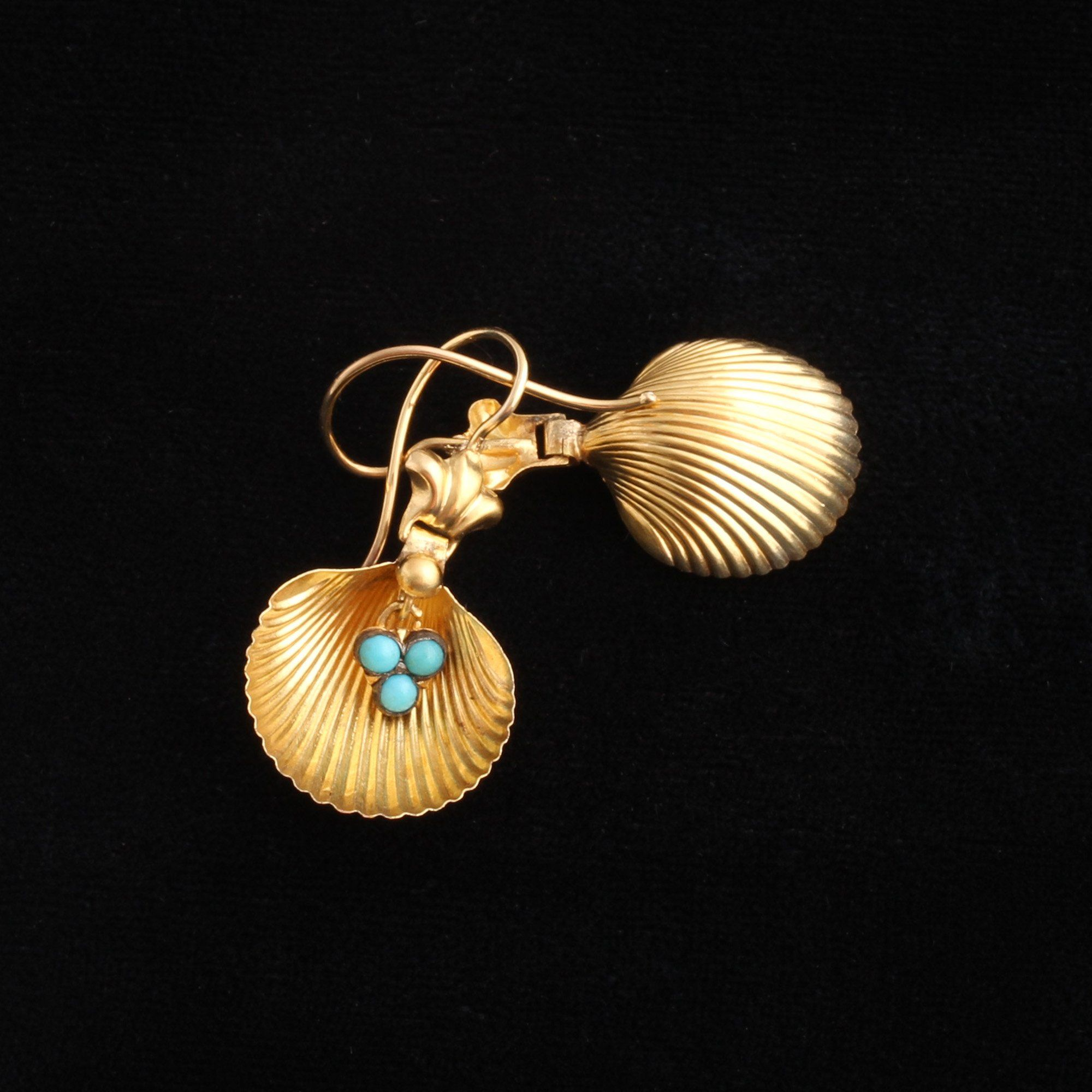 Victorian Shell & Turquoise Earrings