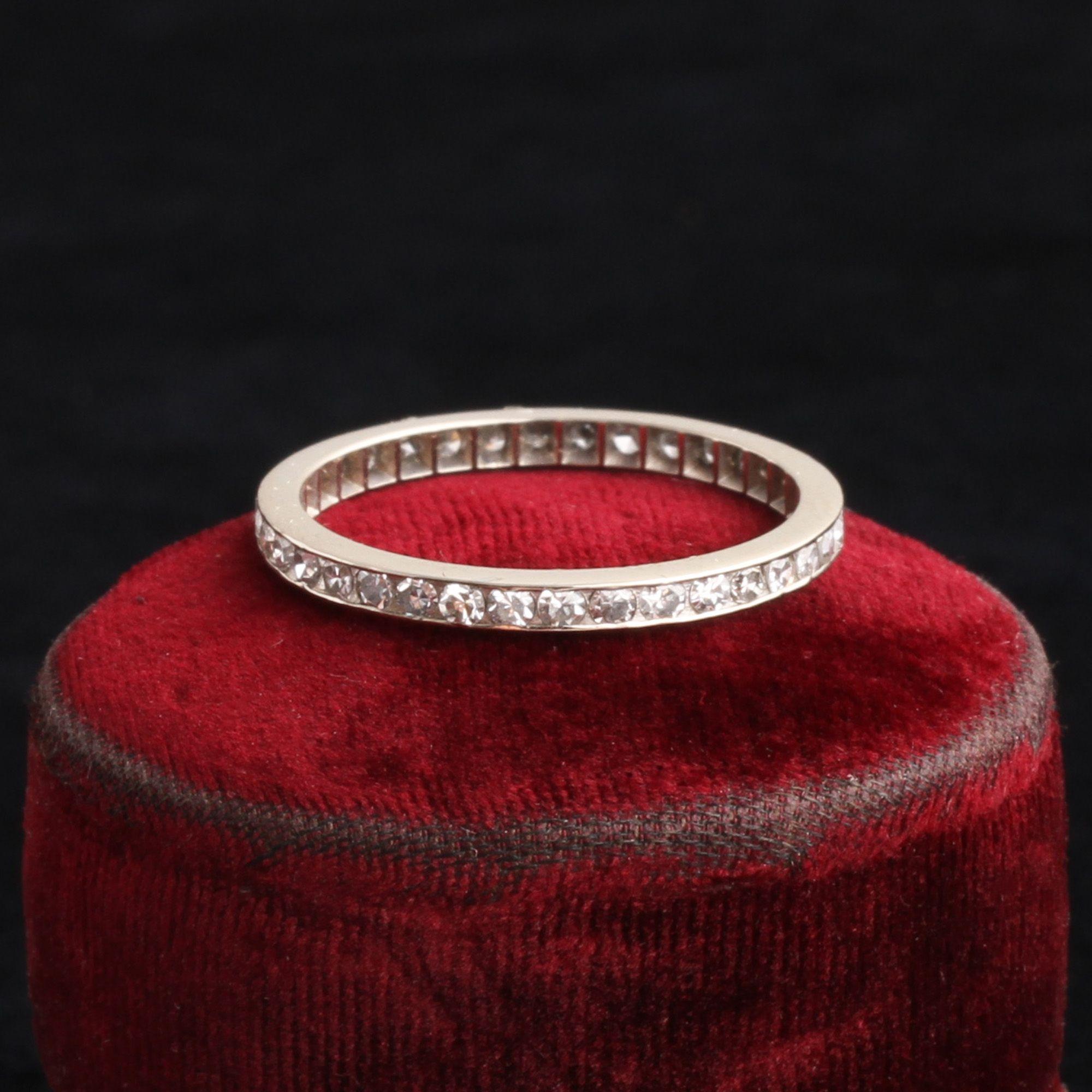 Vintage 14k White Gold Diamond Eternity Ring Size 6.5