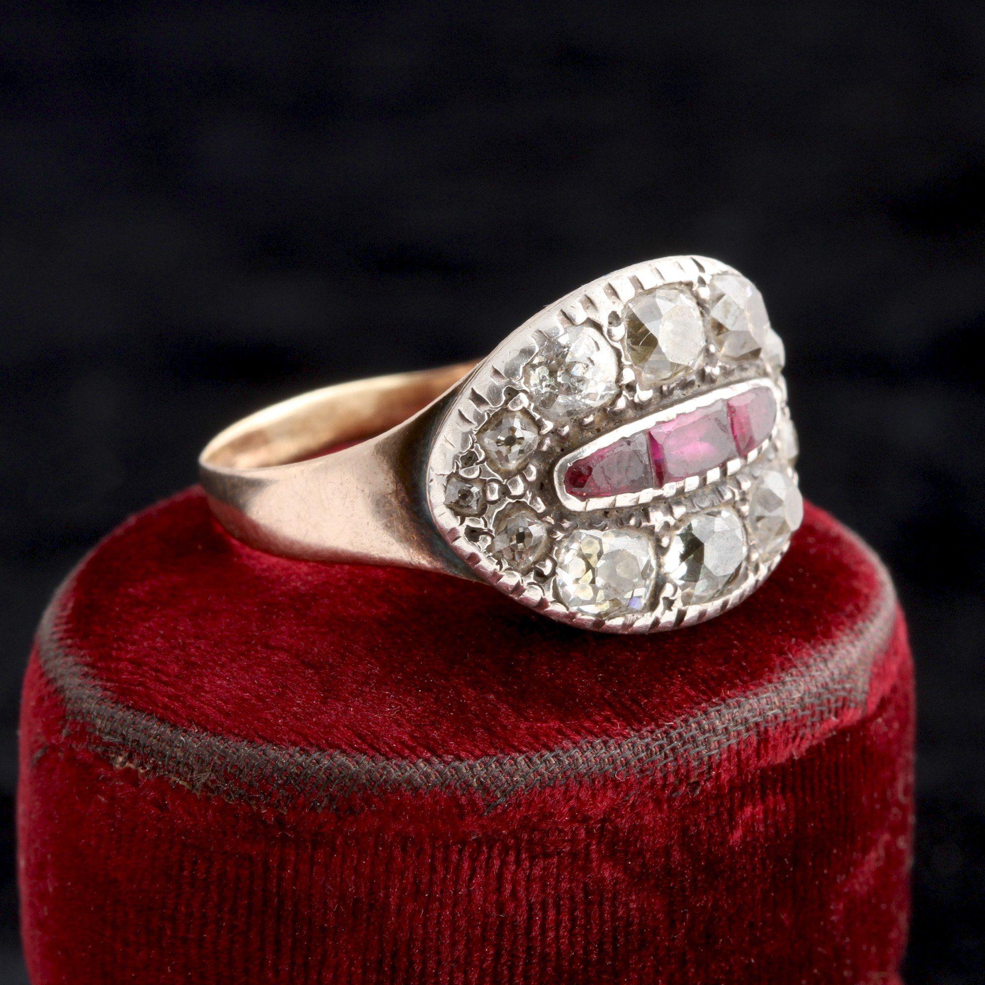 Georgian Old Mine Cut Diamond & Ruby Cluster Ring