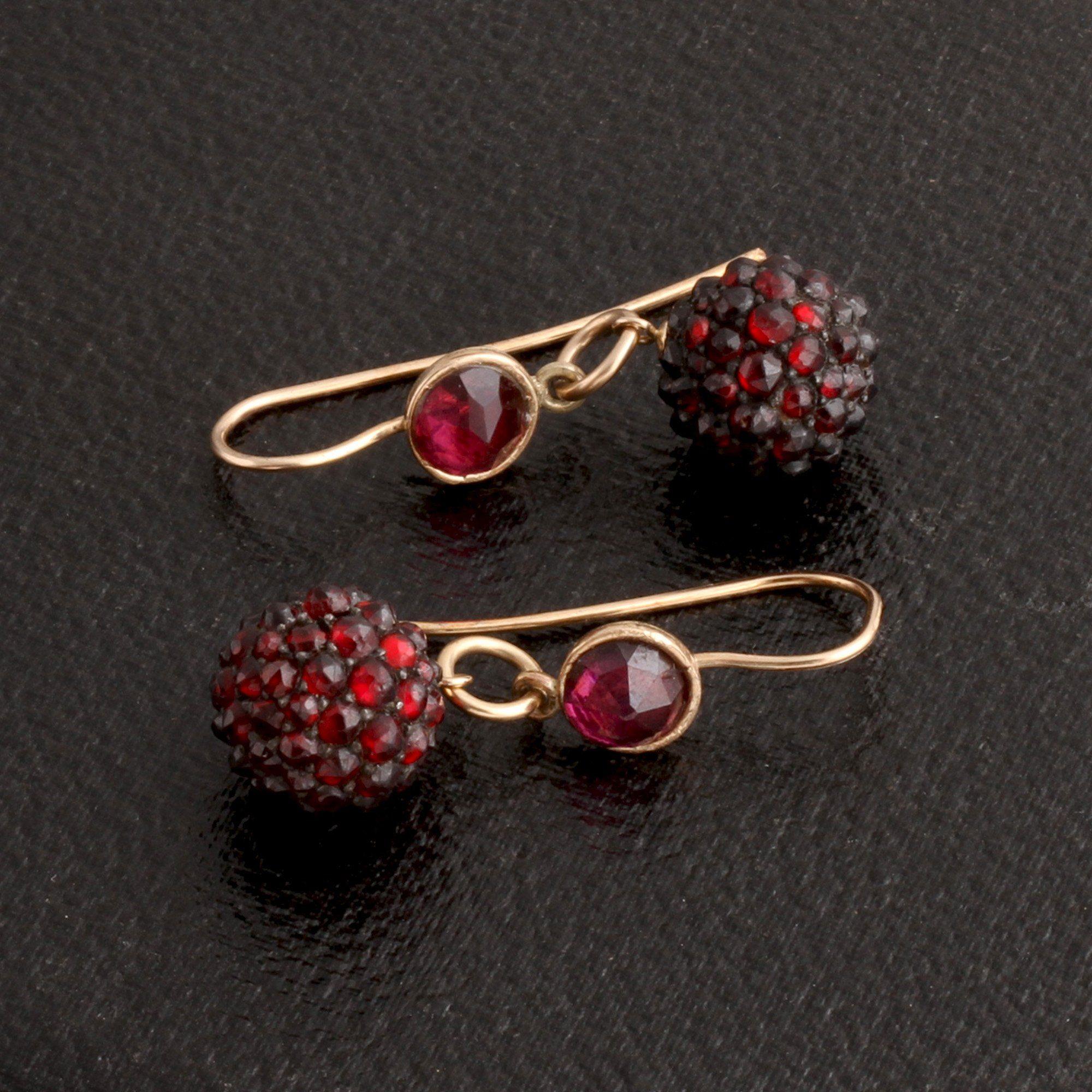 Victorian Bohemian Garnet Earrings