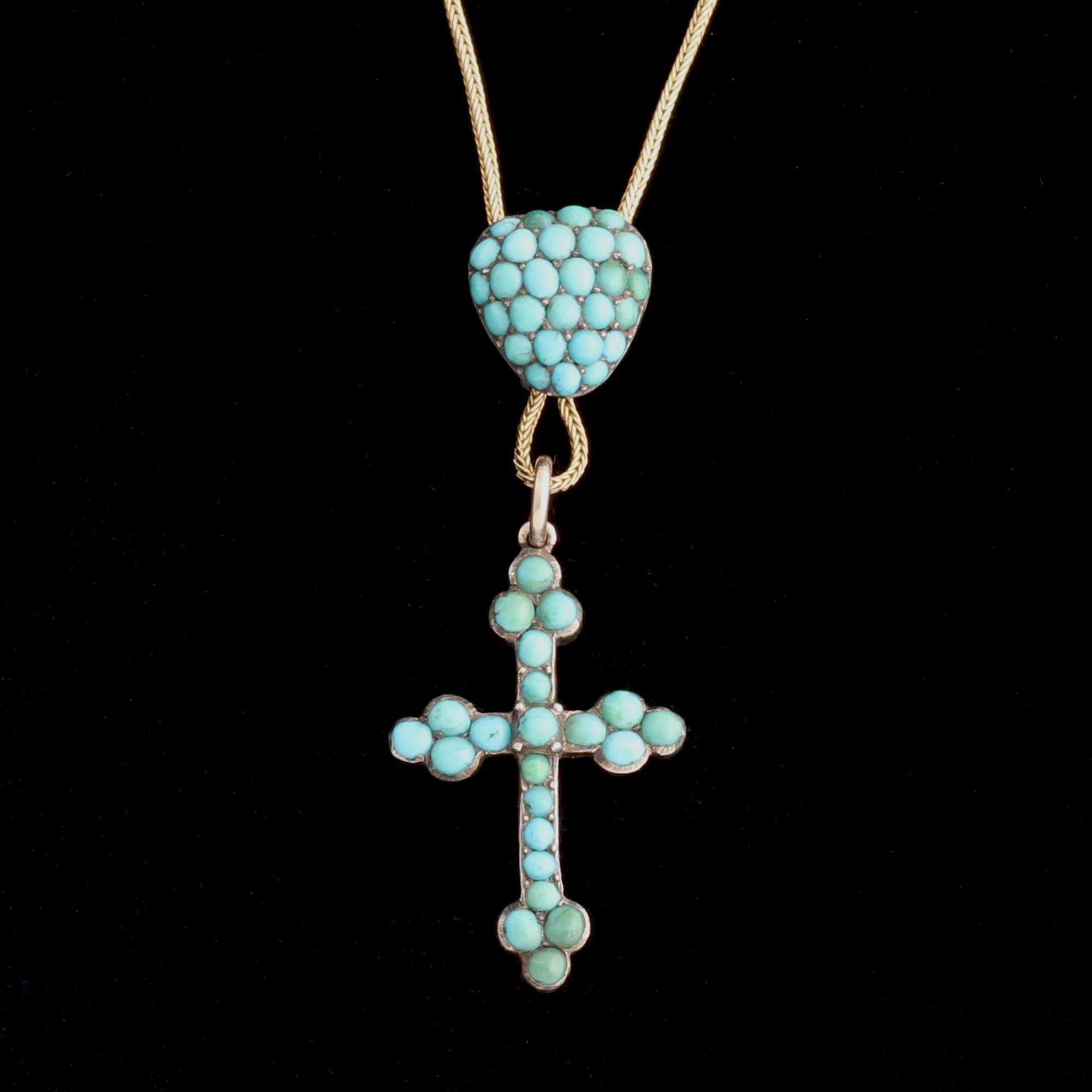 Victorian Turquoise Heart and Cross Necklace